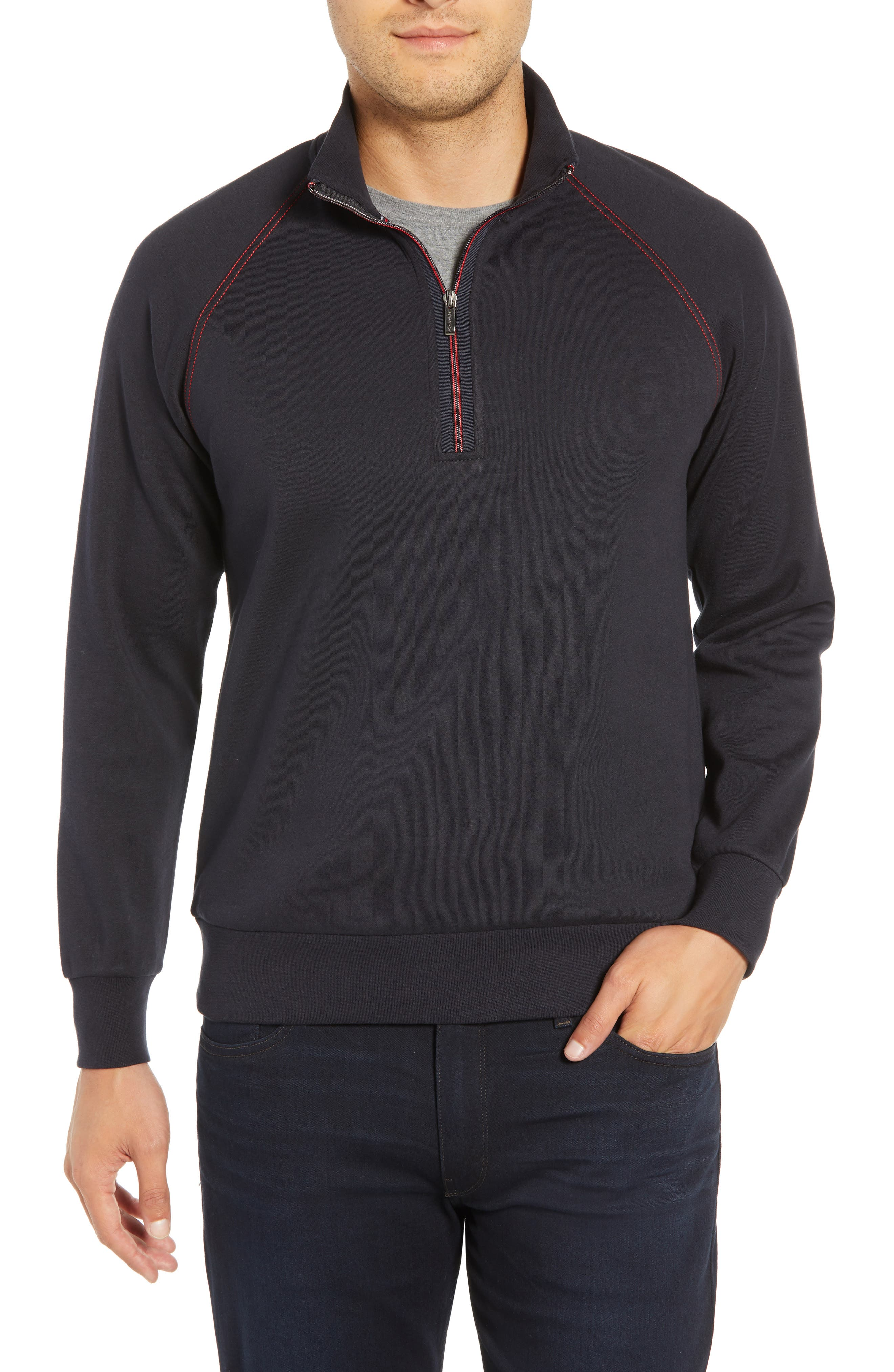 men's bugatchi regular fit quarter zip pullover sweatshirt, size xx-large - blue
