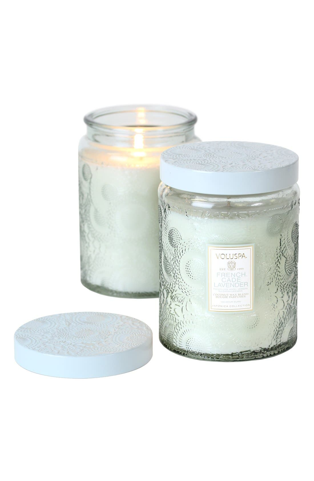 Japonica French Cade Lavender Large Embossed Jar Candle,                         Main,                         color, 000