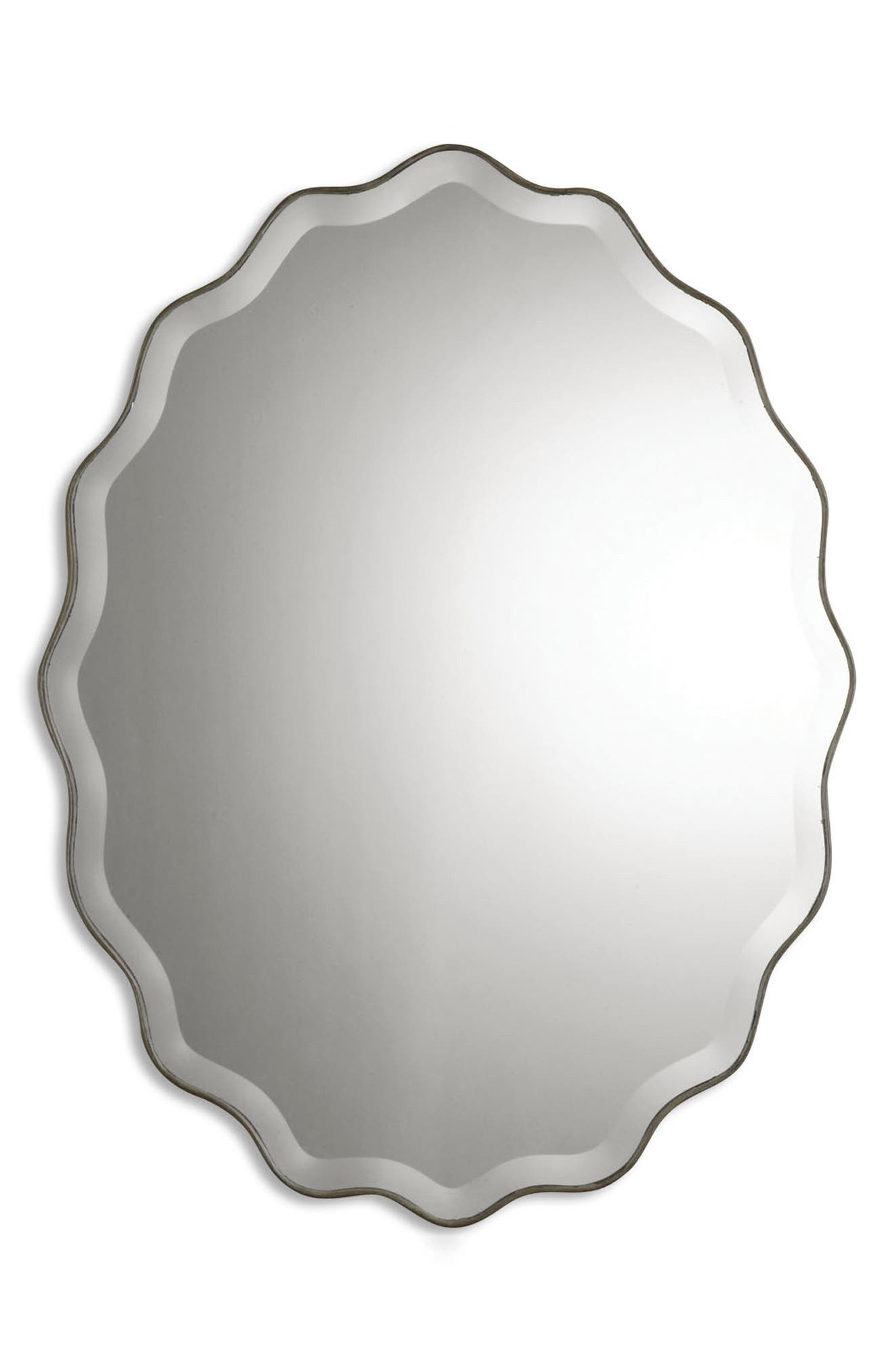 'Teodora' Ruffle Edge Mirror,                             Alternate thumbnail 3, color,                             100