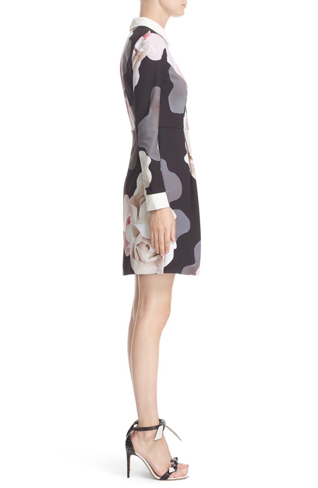 TED BAKER LONDON,                             Porcelain Rose Print Contrast Trim Fit & Flare Dress,                             Alternate thumbnail 5, color,                             001