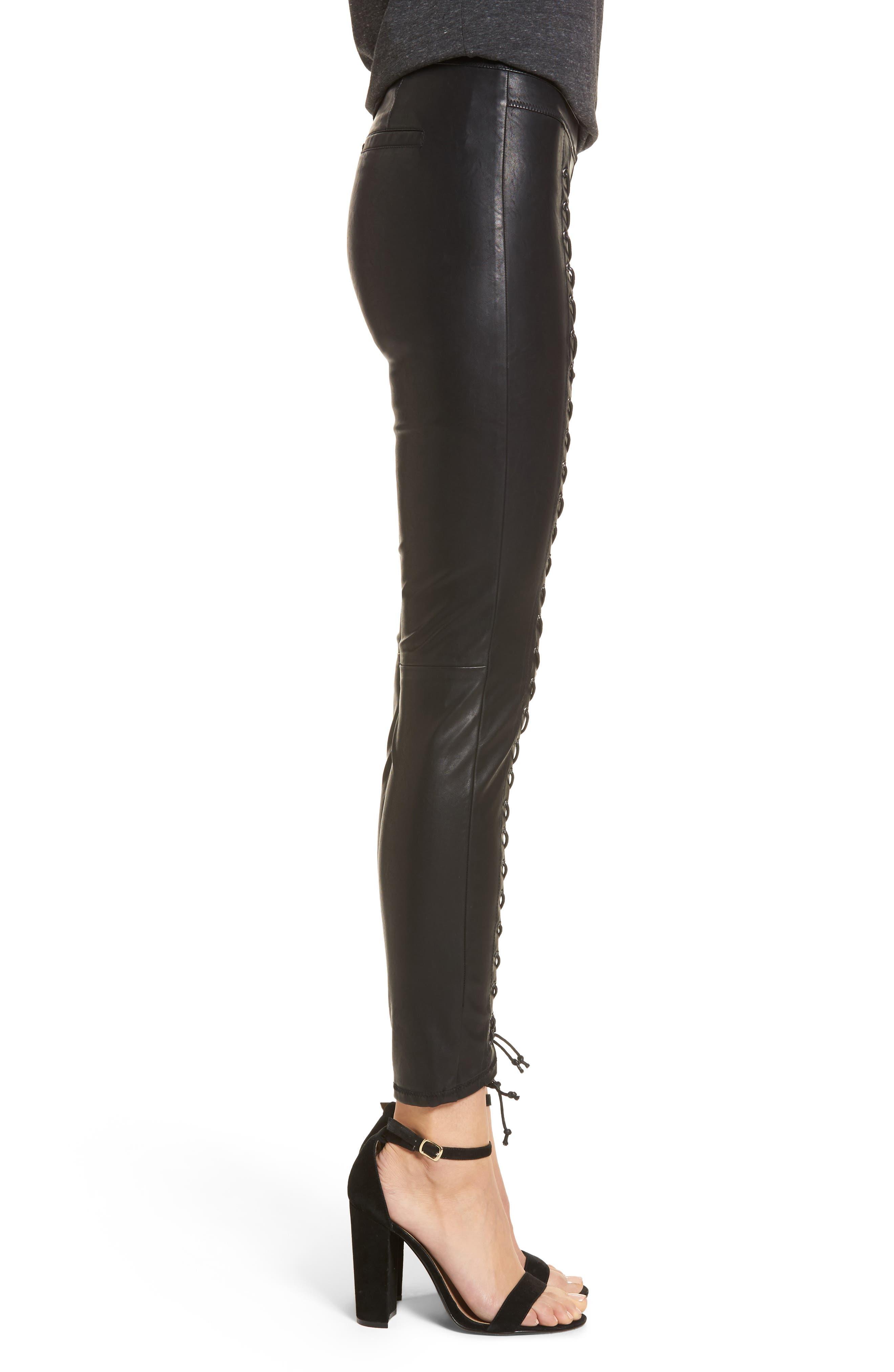 Lace-Up Faux Leather Pants,                             Alternate thumbnail 3, color,                             007