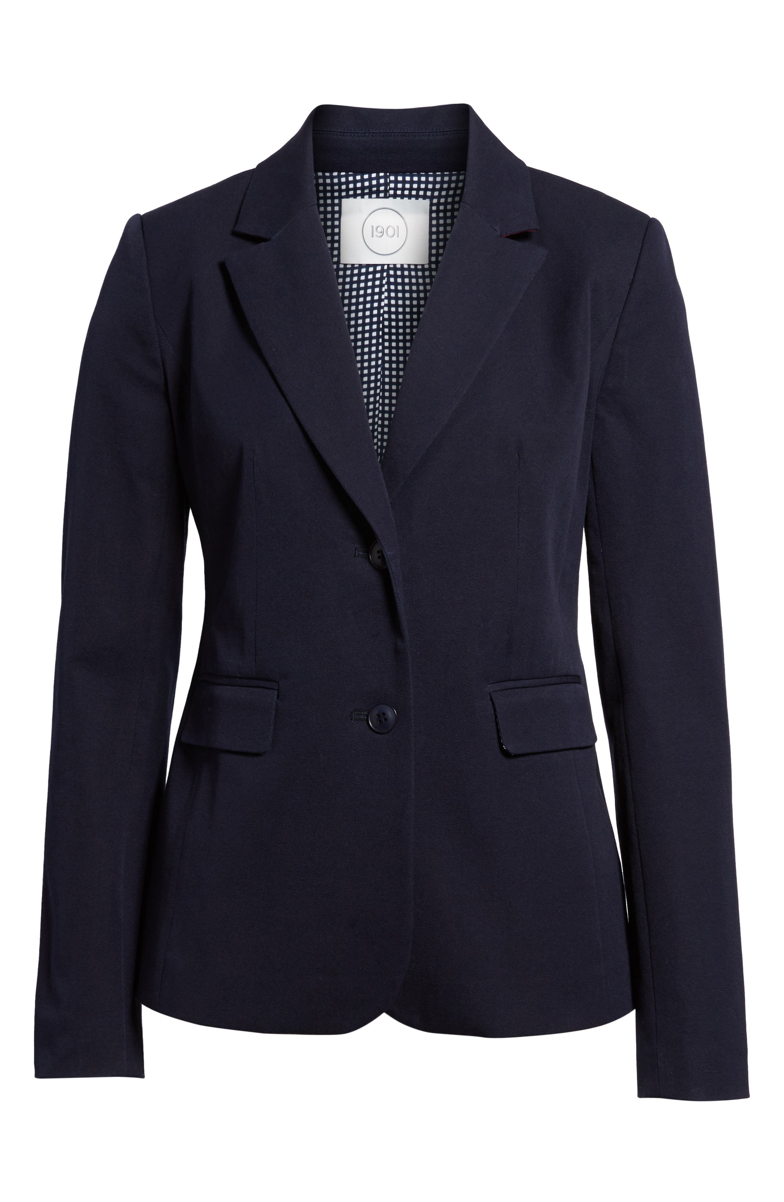 Stretch Cotton Twill Blazer,                             Alternate thumbnail 6, color,                             NAVY NIGHT