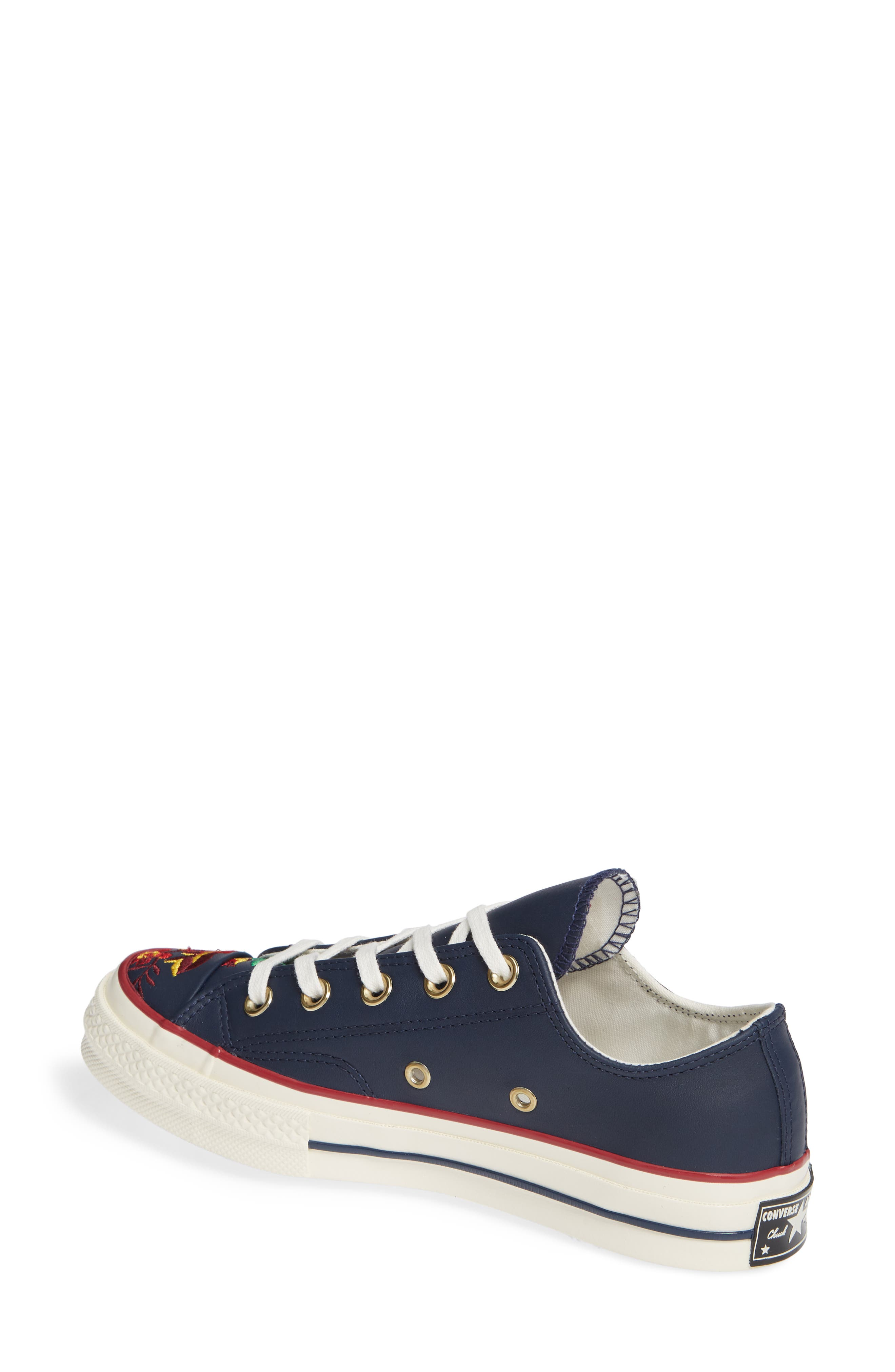 Chuck Taylor<sup>®</sup> All Star<sup>®</sup> Parkway Floral 70 Low Top Sneaker,                             Alternate thumbnail 2, color,                             OBSIDIAN/ CHERRY LEATHER