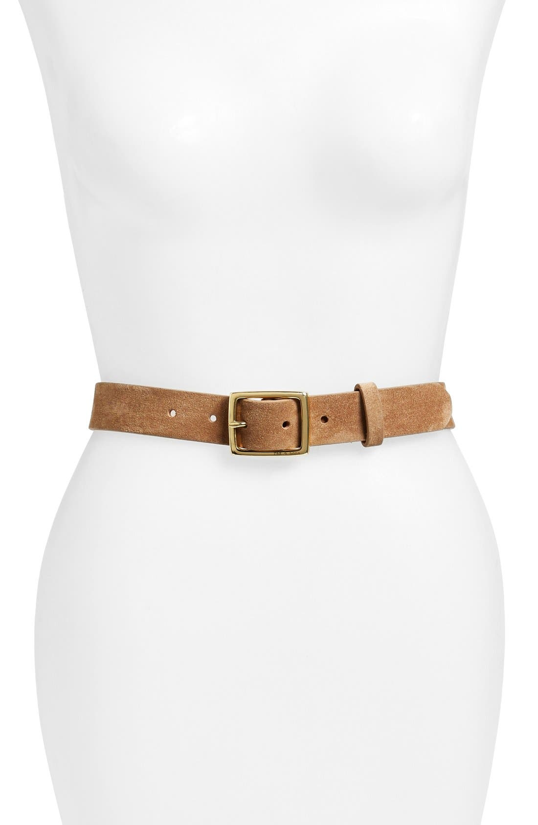 'Boyfriend' Leather Belt,                             Main thumbnail 1, color,                             CAMEL