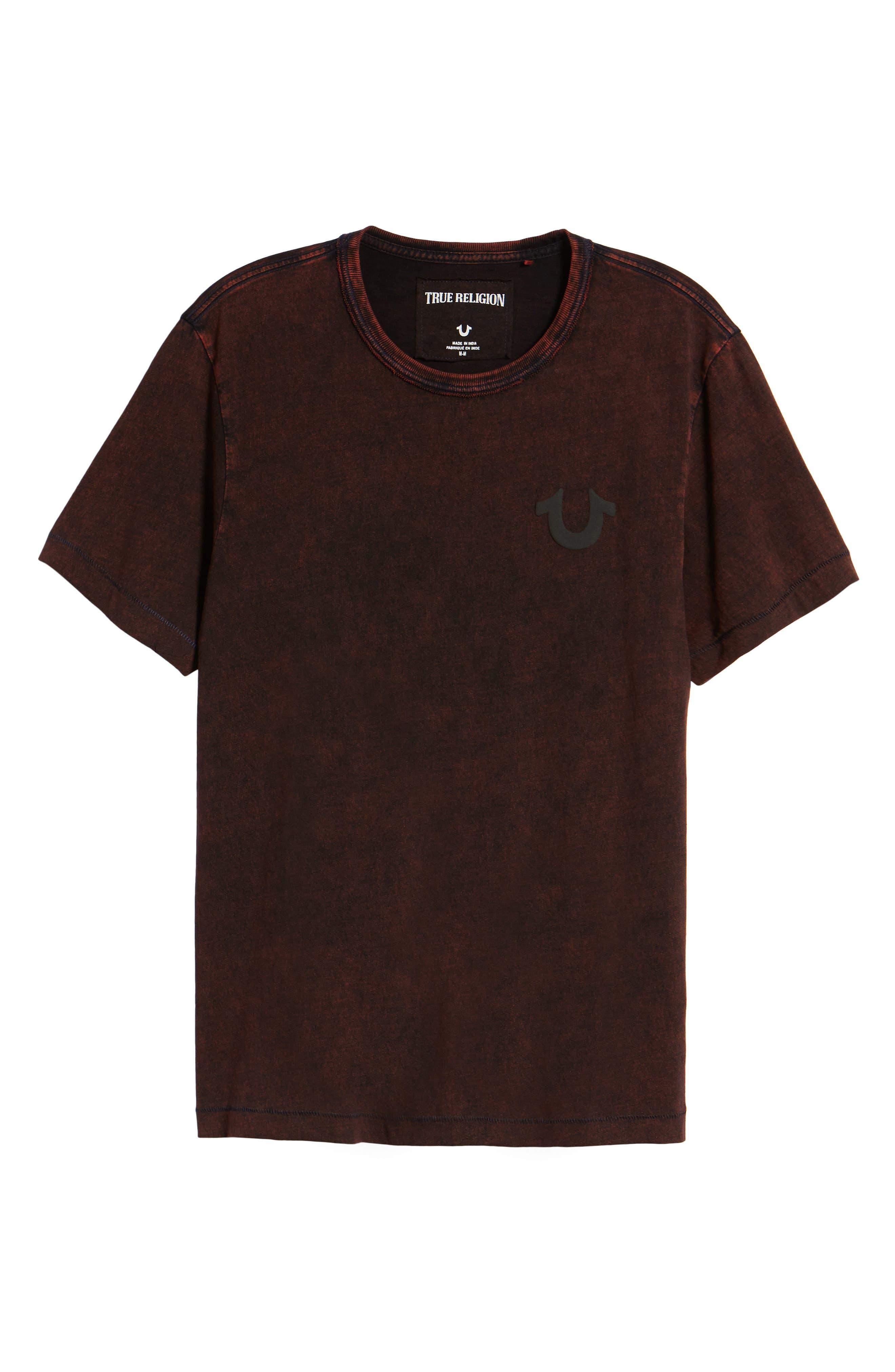 Washed Indigo Logo T-Shirt,                             Alternate thumbnail 6, color,                             INDIGO/ SUNBURST ORANGE COMBO