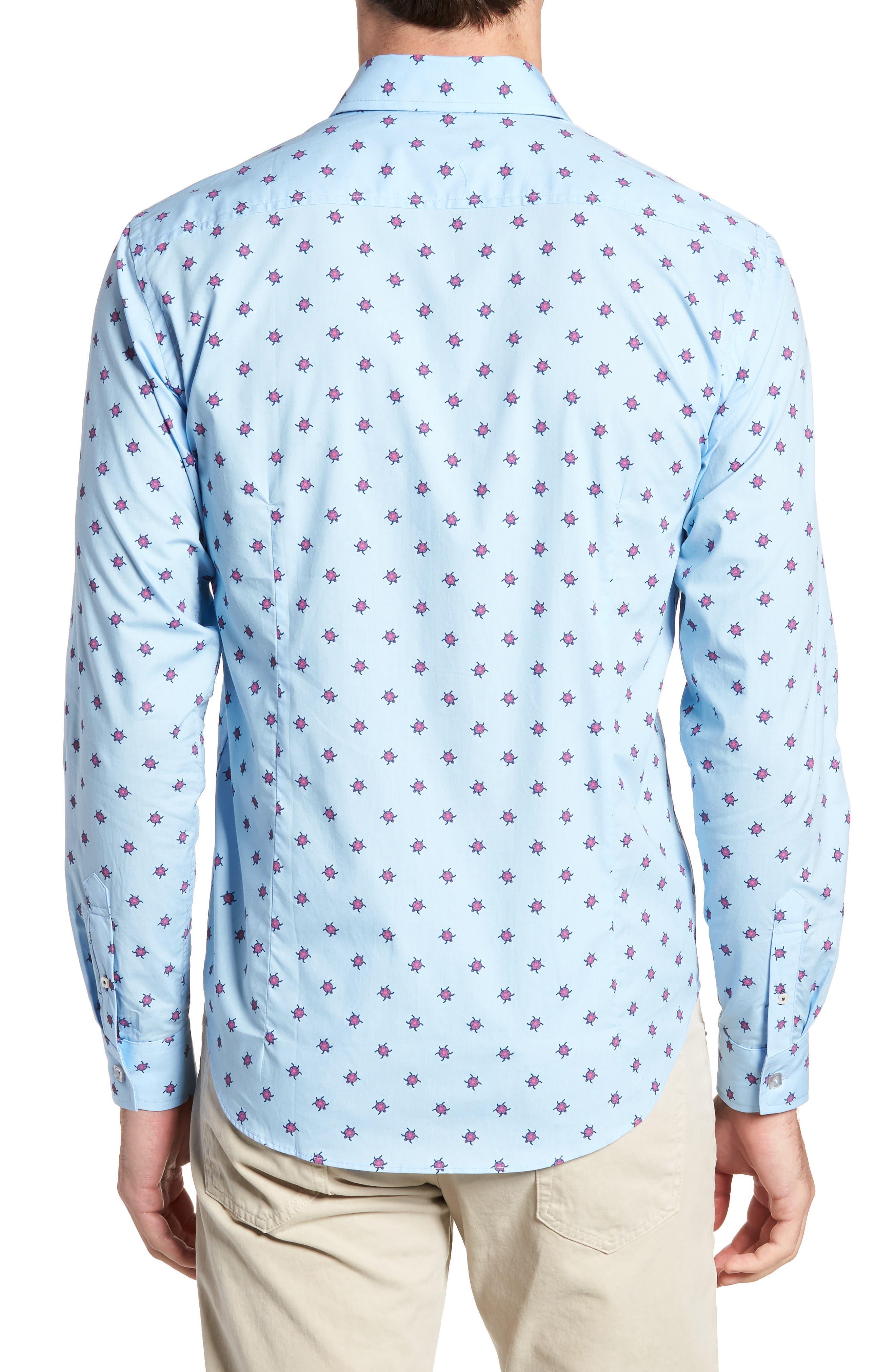 Slim Fit Turtle Print Sport Shirt,                             Alternate thumbnail 2, color,                             451
