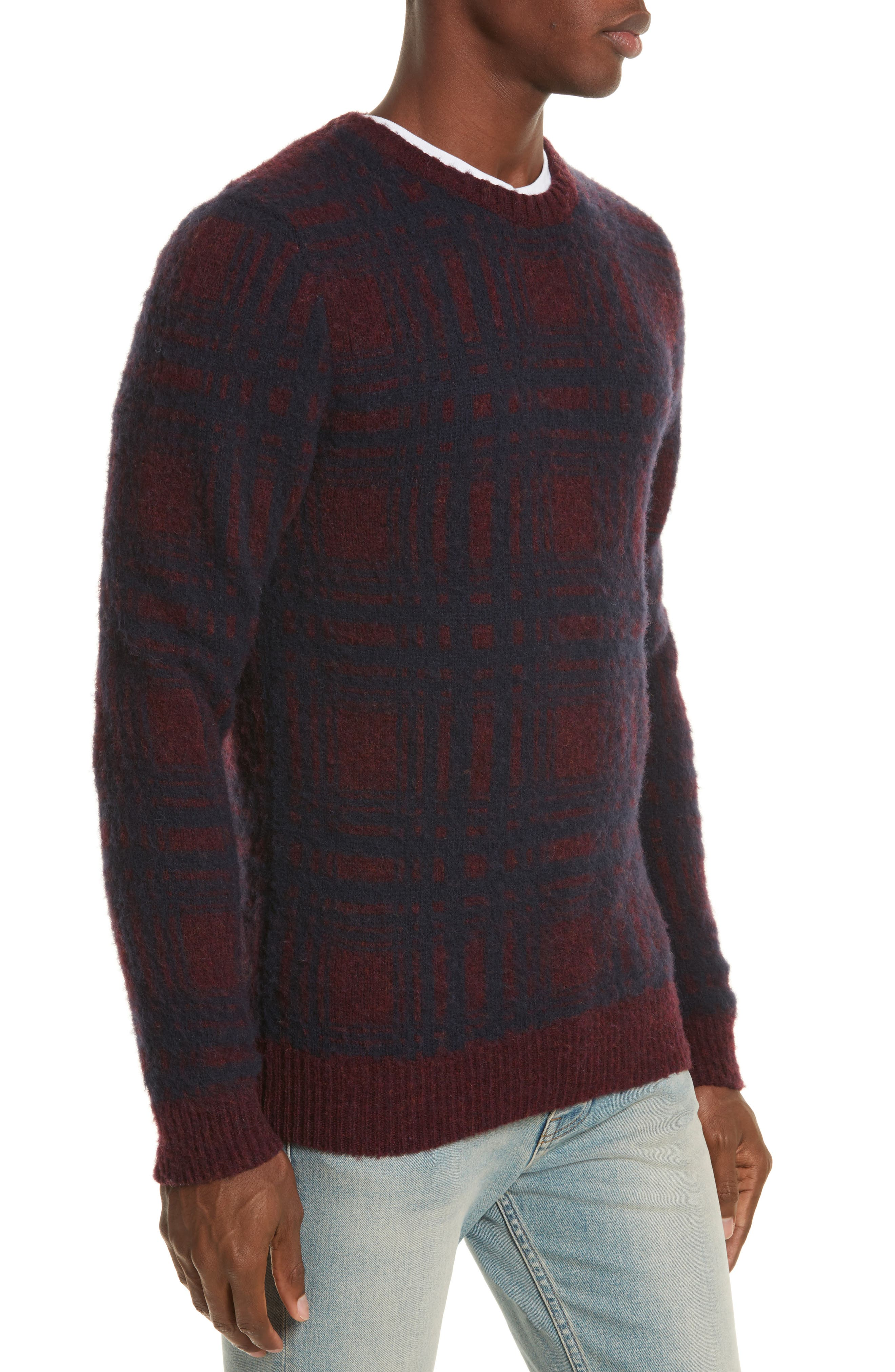 Sam Intarsia Check Wool Sweater,                             Alternate thumbnail 3, color,                             606
