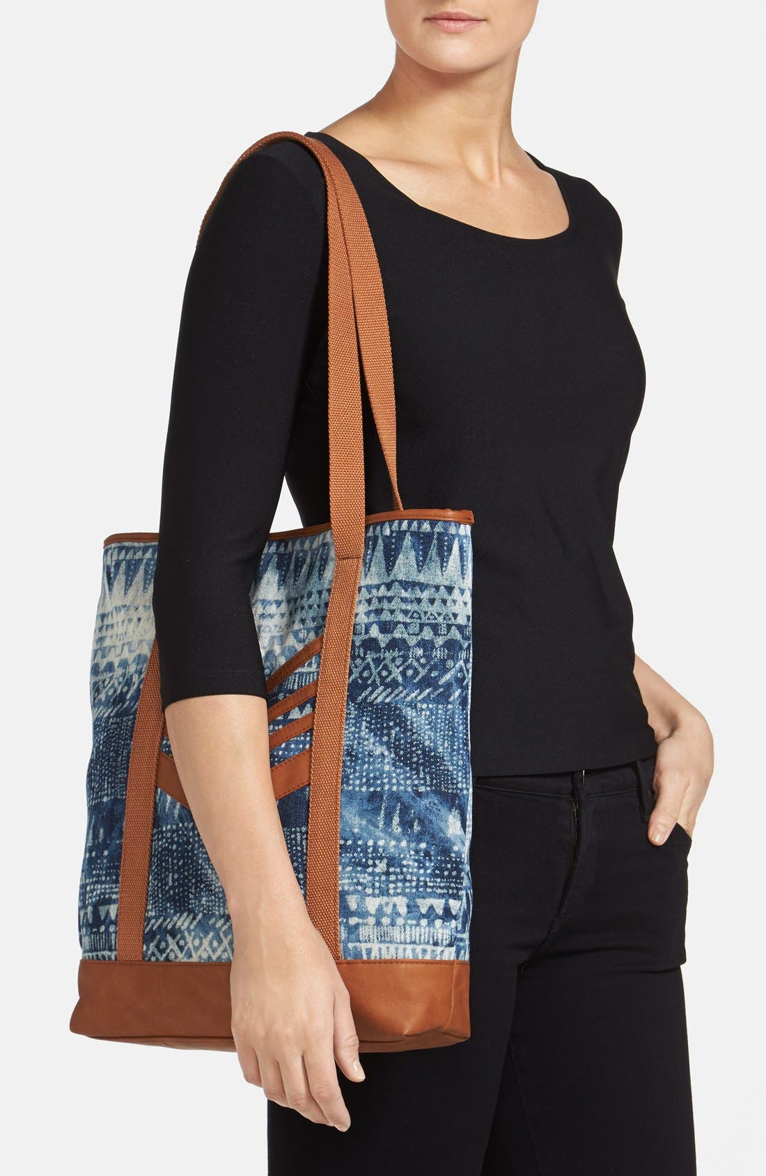 VOLCOM,                             'Thrifty Fun' Bleach Pattern Tote,                             Alternate thumbnail 4, color,                             200