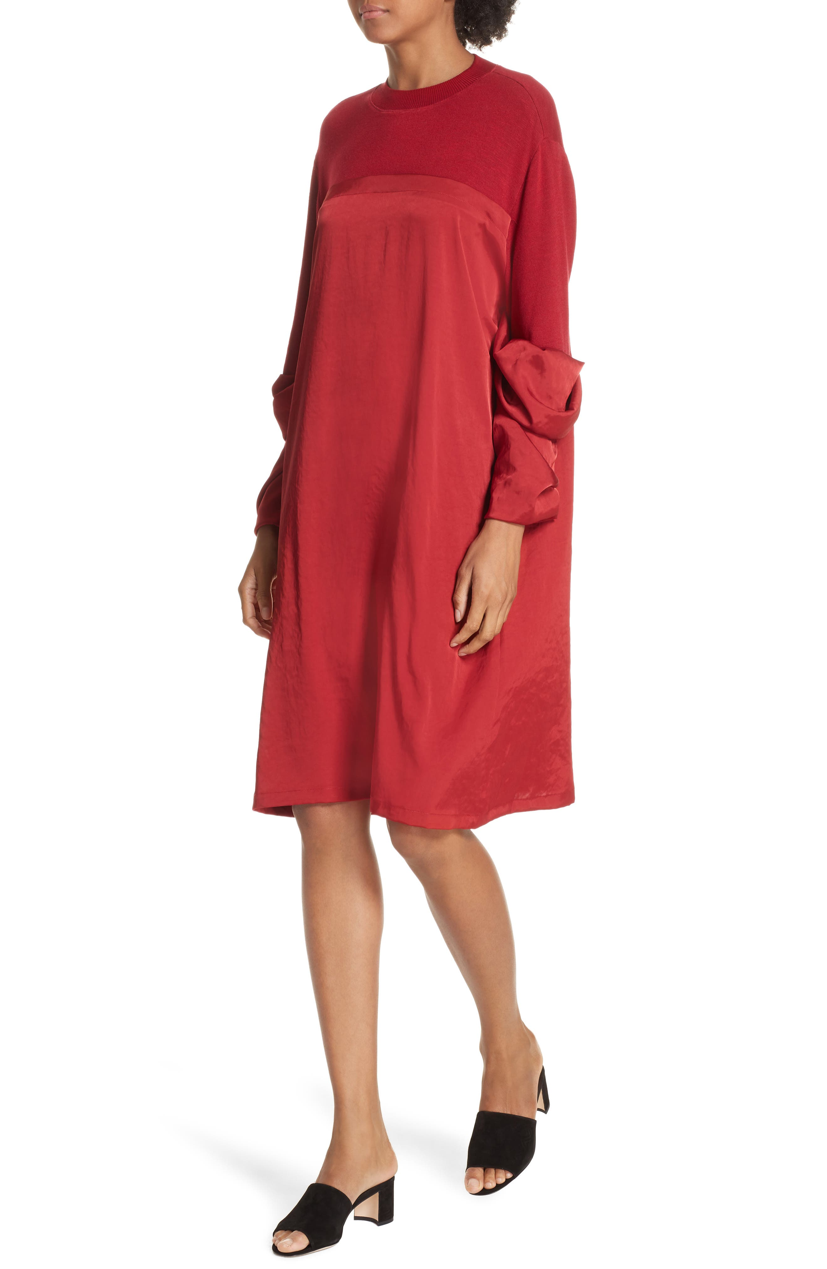 Mixed Media Shift Dress,                             Alternate thumbnail 4, color,                             RED