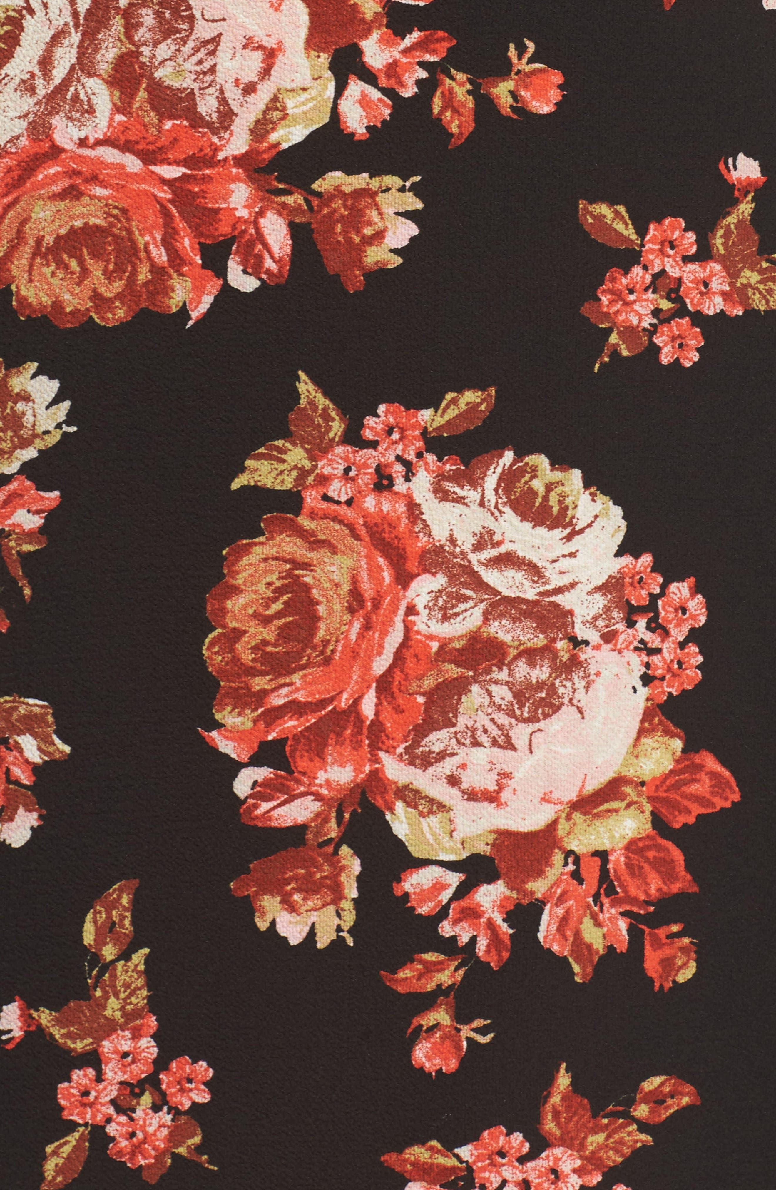 V-Neck Floral Print Dress,                             Alternate thumbnail 5, color,