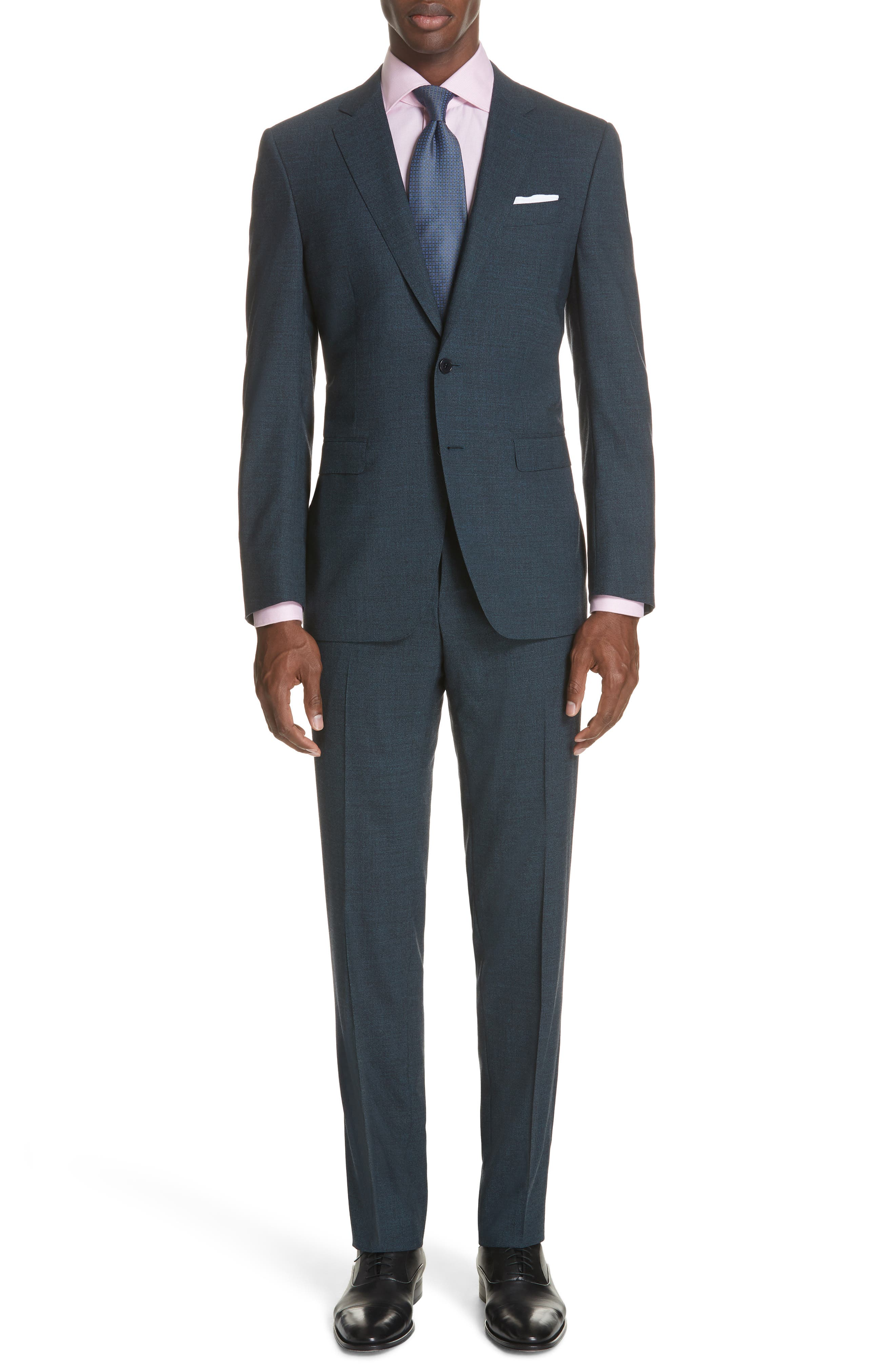 CANALI Classic Fit Stretch Solid Wool Suit, Main, color, 400
