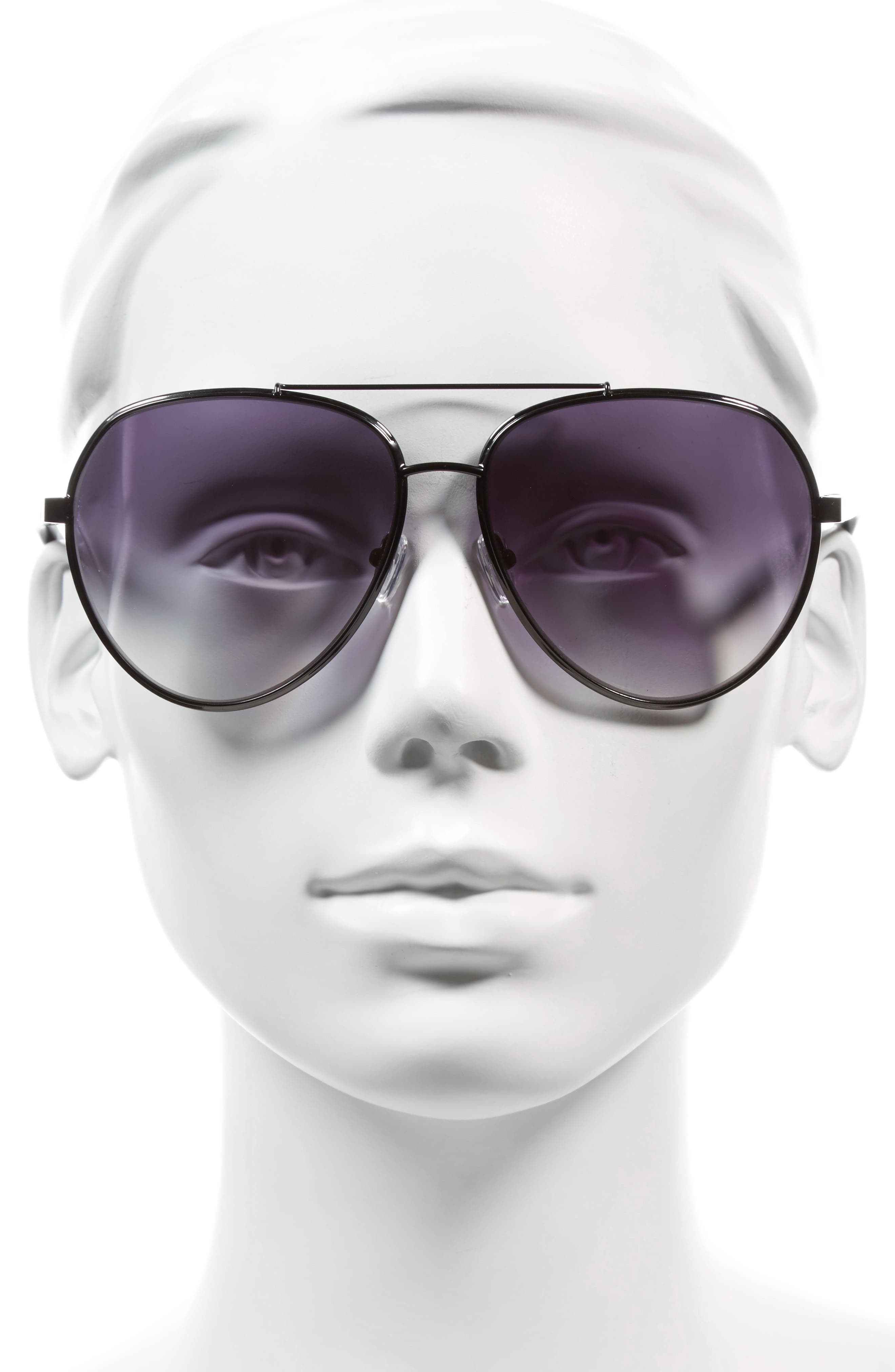 61mm Aviator Sunglasses,                             Alternate thumbnail 2, color,                             001