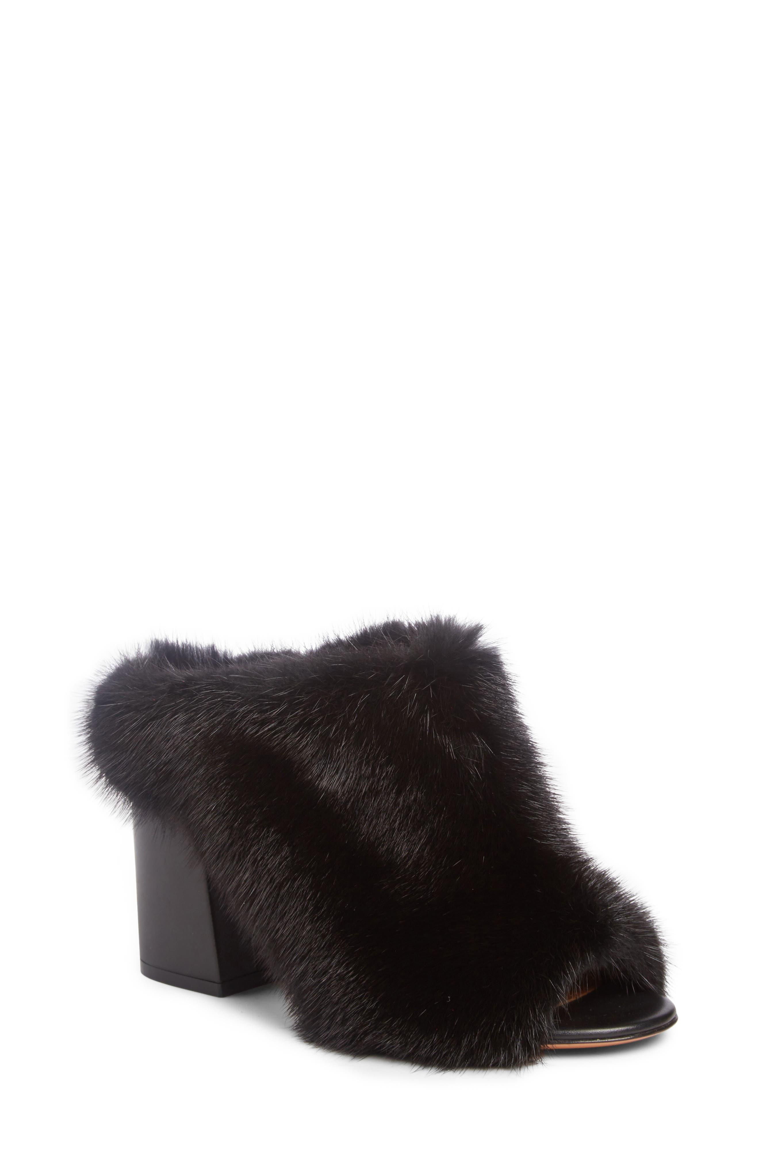 Paris Genuine Mink Fur Mule,                         Main,                         color, 001