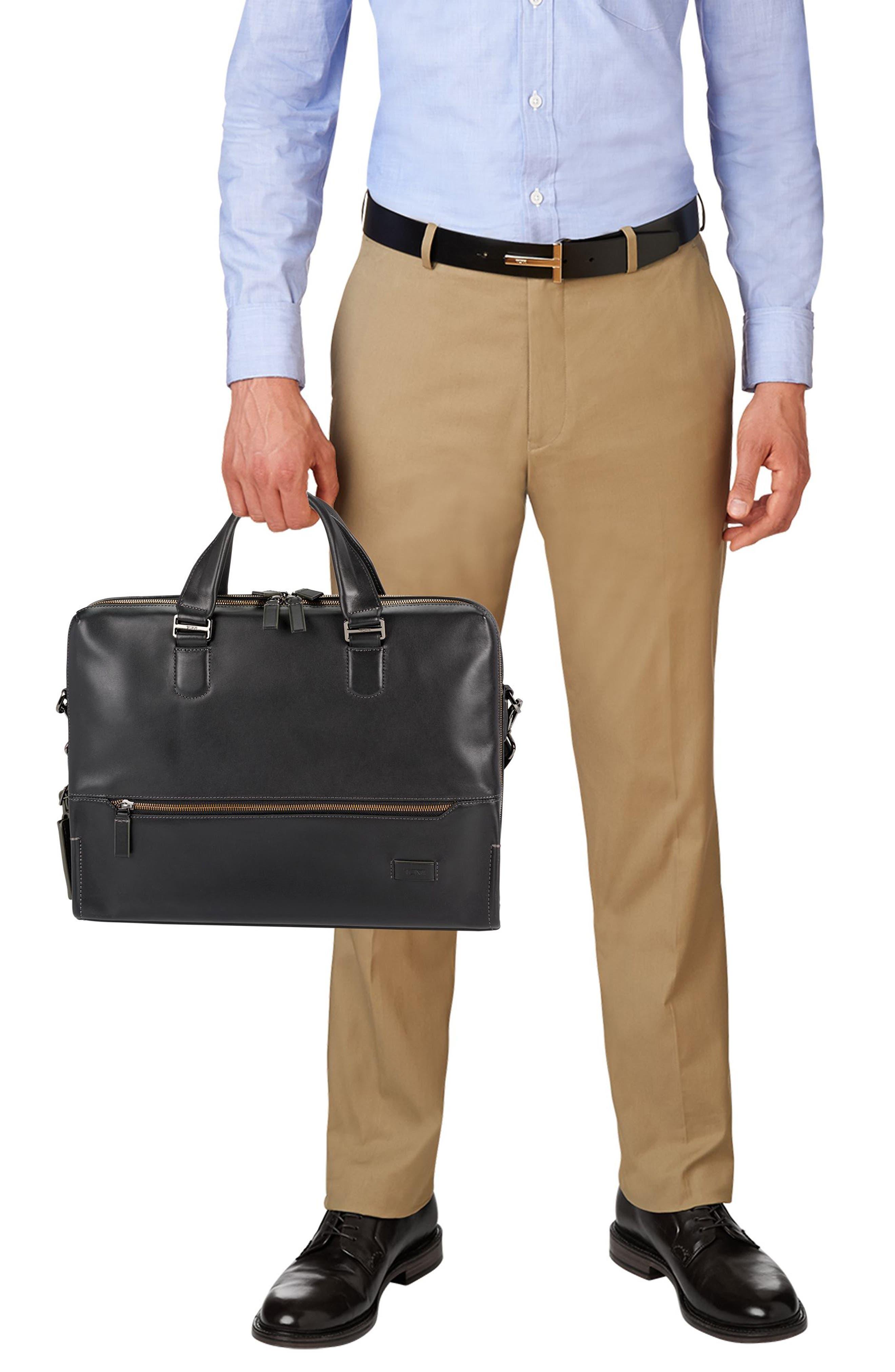 Harrison Horton Double Zip Leather Briefcase,                             Alternate thumbnail 2, color,                             001