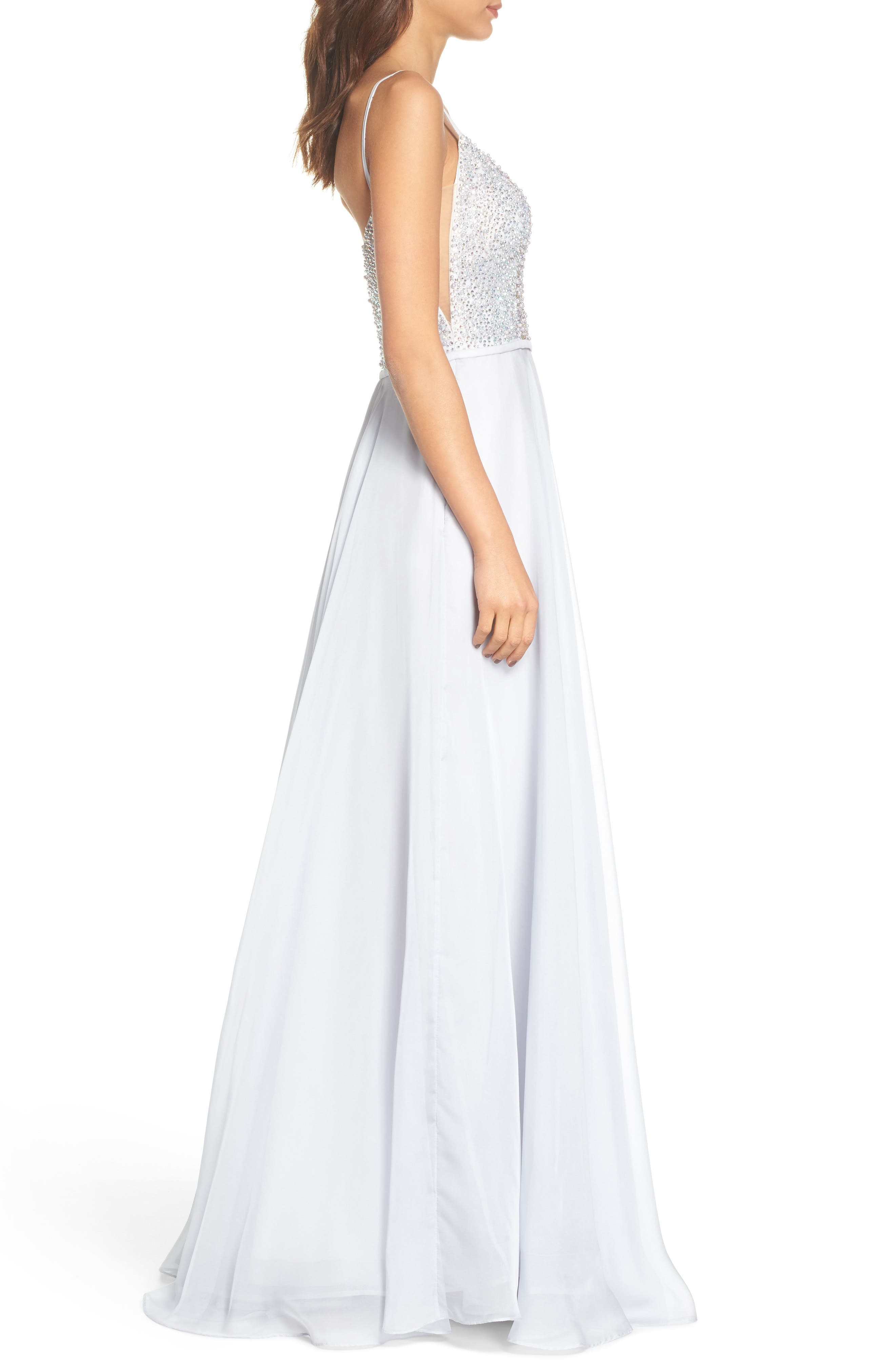 Beaded Chiffon Gown,                             Alternate thumbnail 3, color,                             040