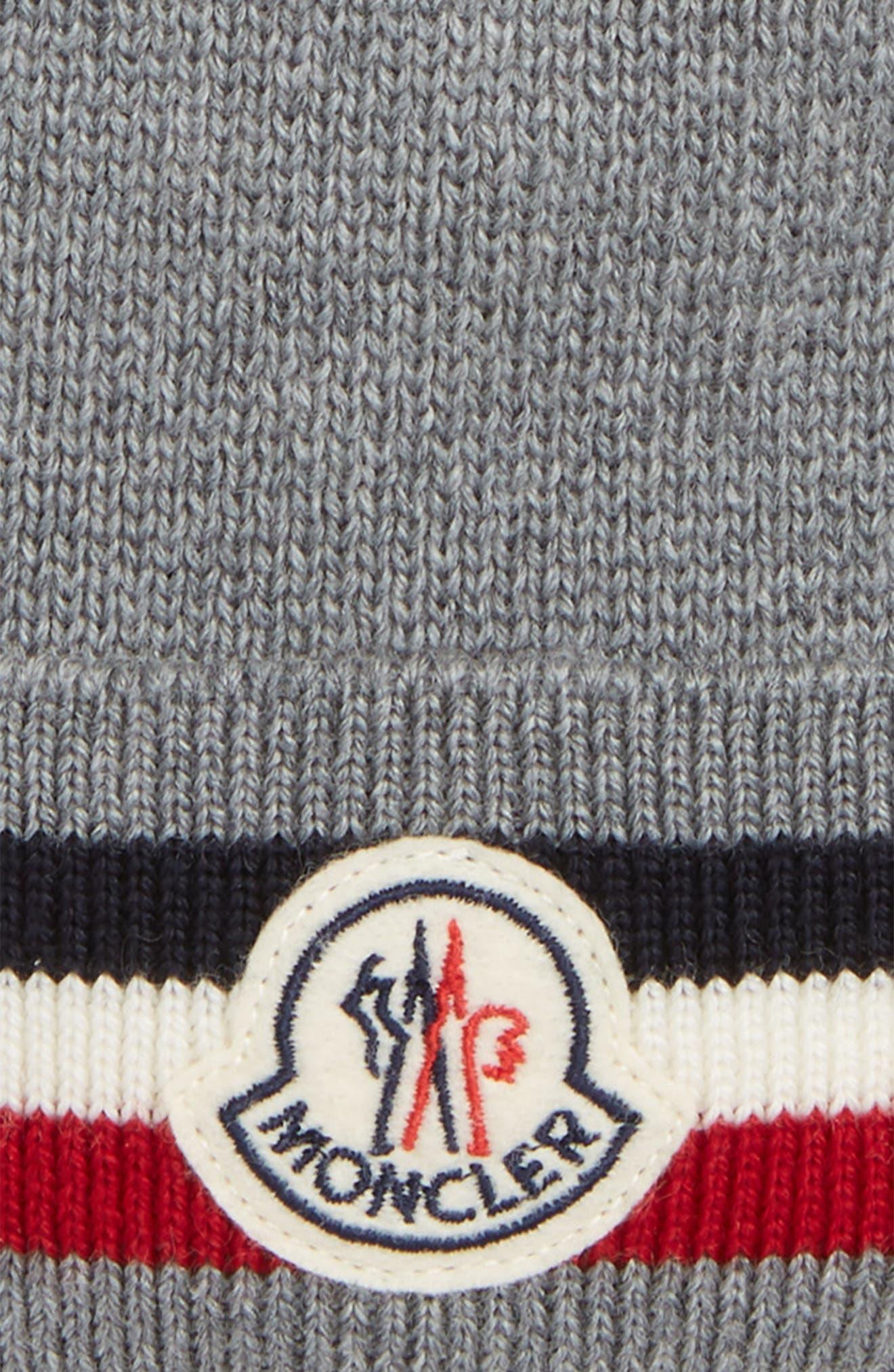 Berretto Stripe Wool Beanie,                             Alternate thumbnail 2, color,                             LIGHT GREY
