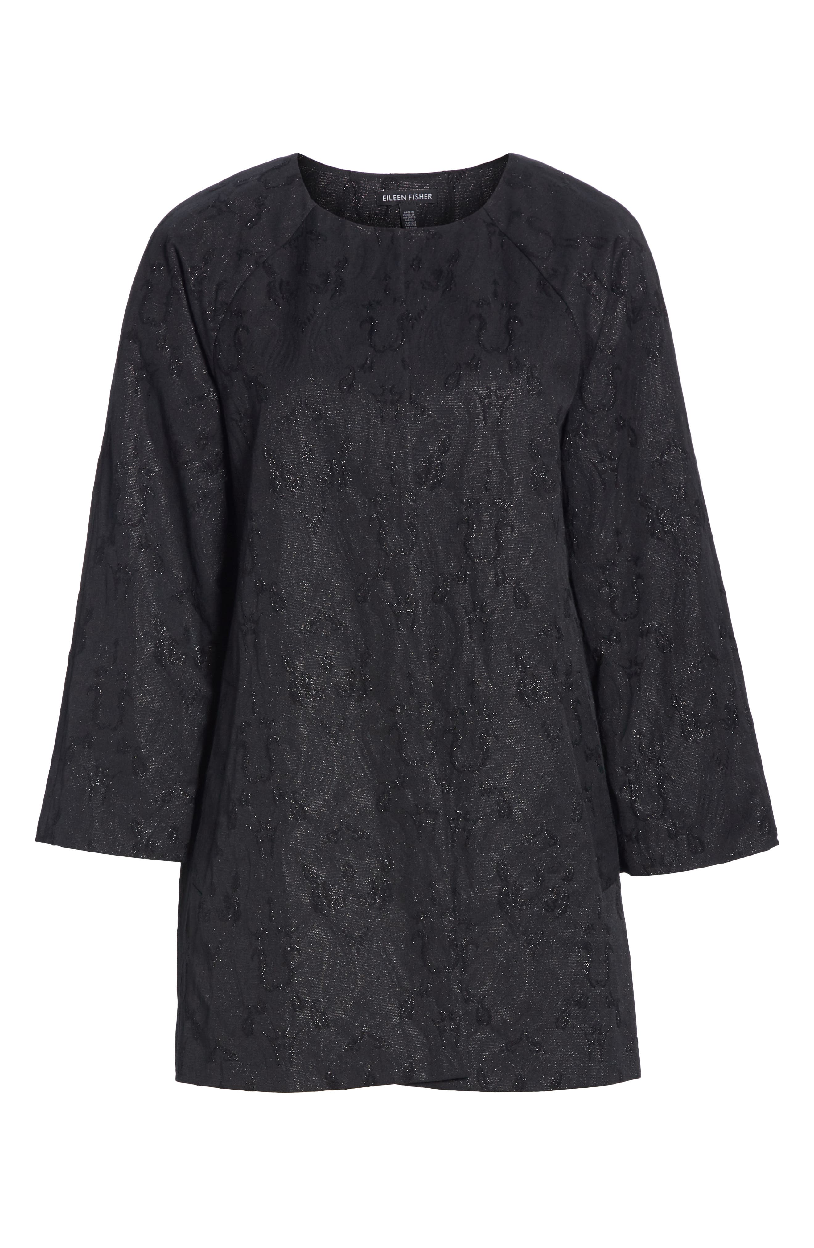 EILEEN FISHER, Metallic Jacquard Collarless Jacket, Alternate thumbnail 6, color, BLACK
