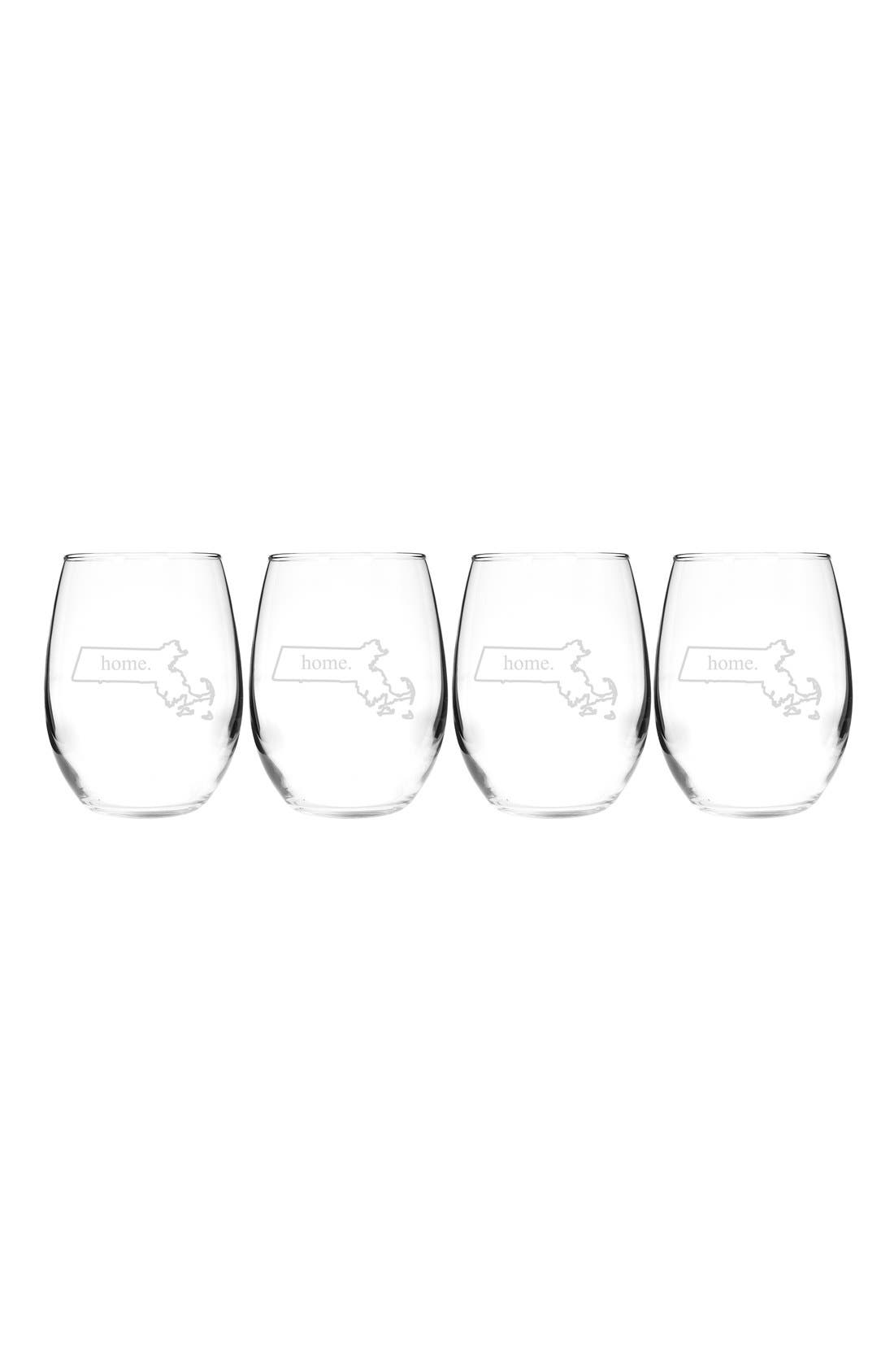 Home State Set of 4 Stemless Wine Glasses,                             Main thumbnail 20, color,