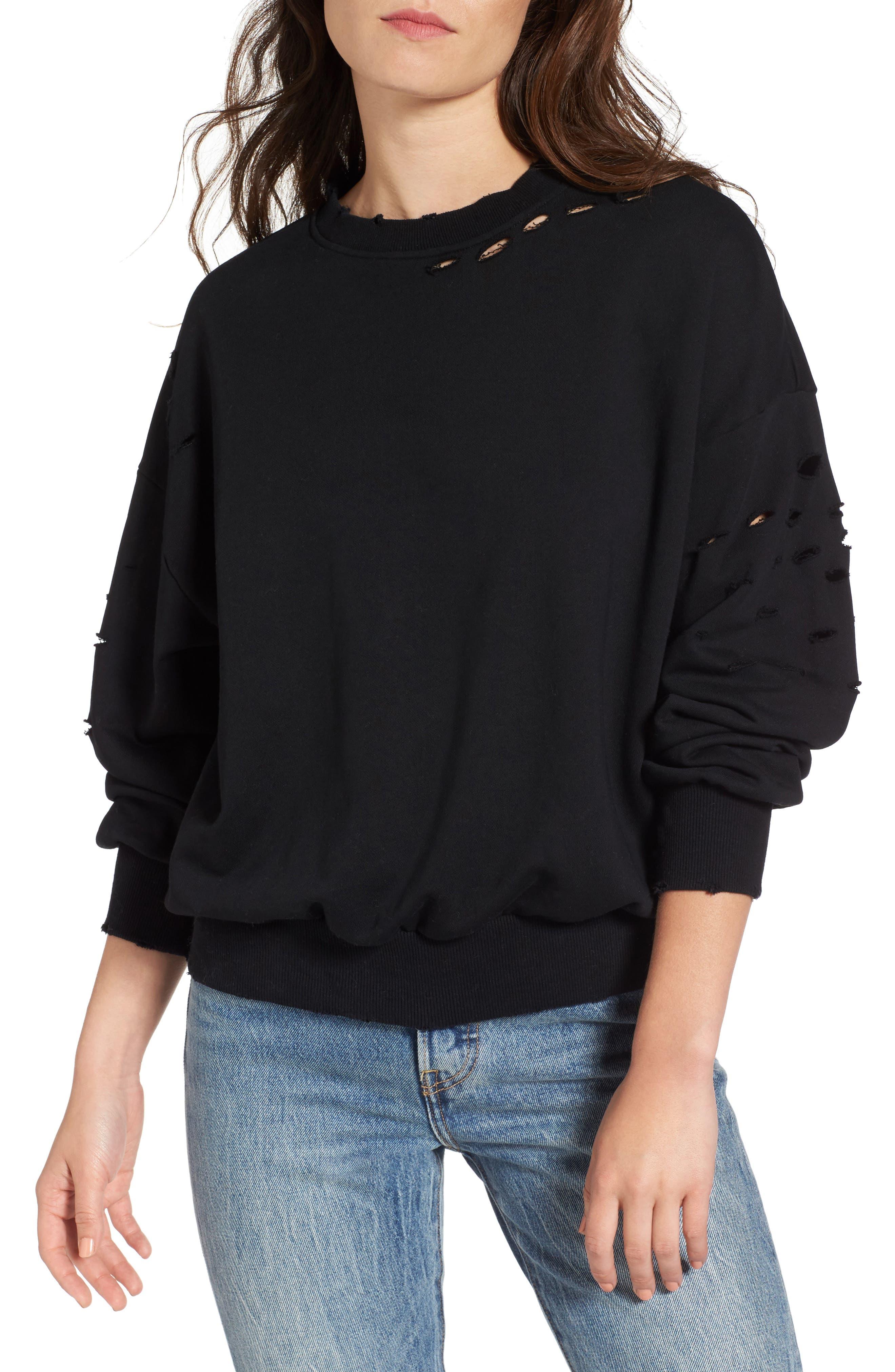 Holey Sweatshirt,                             Main thumbnail 1, color,                             001
