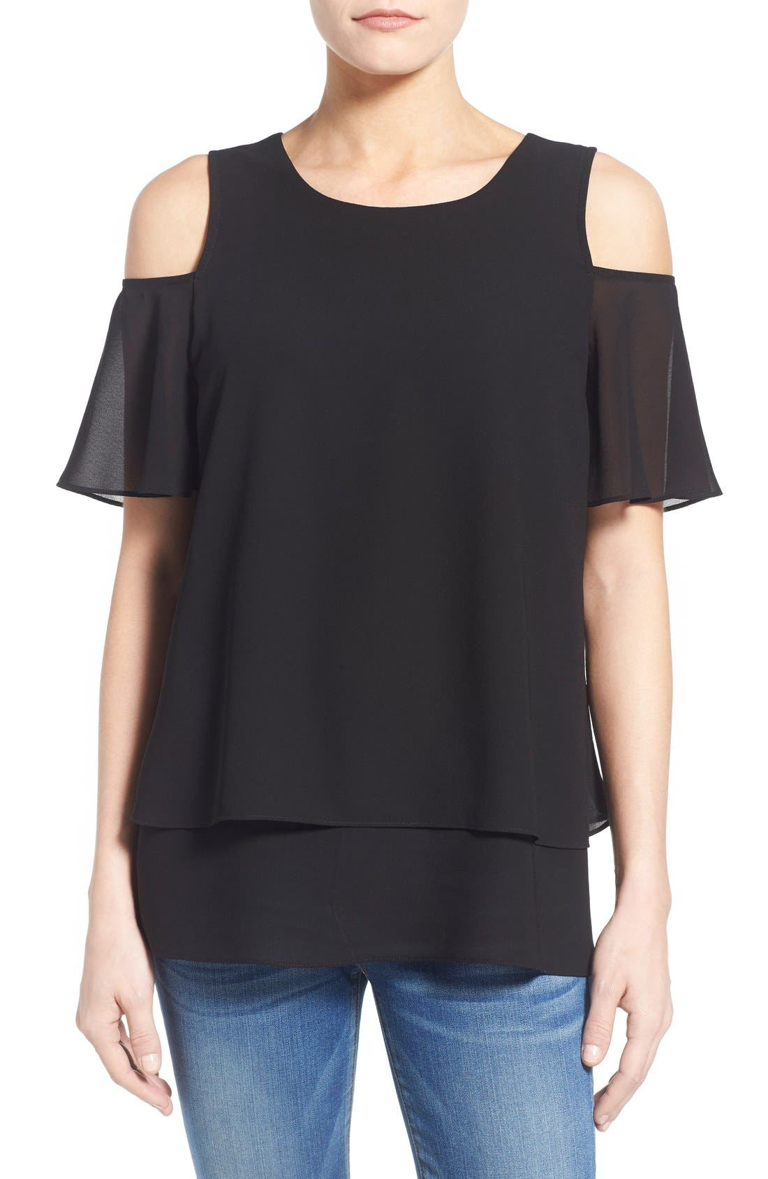 Tiered Cold Shoulder Top,                             Main thumbnail 1, color,                             009