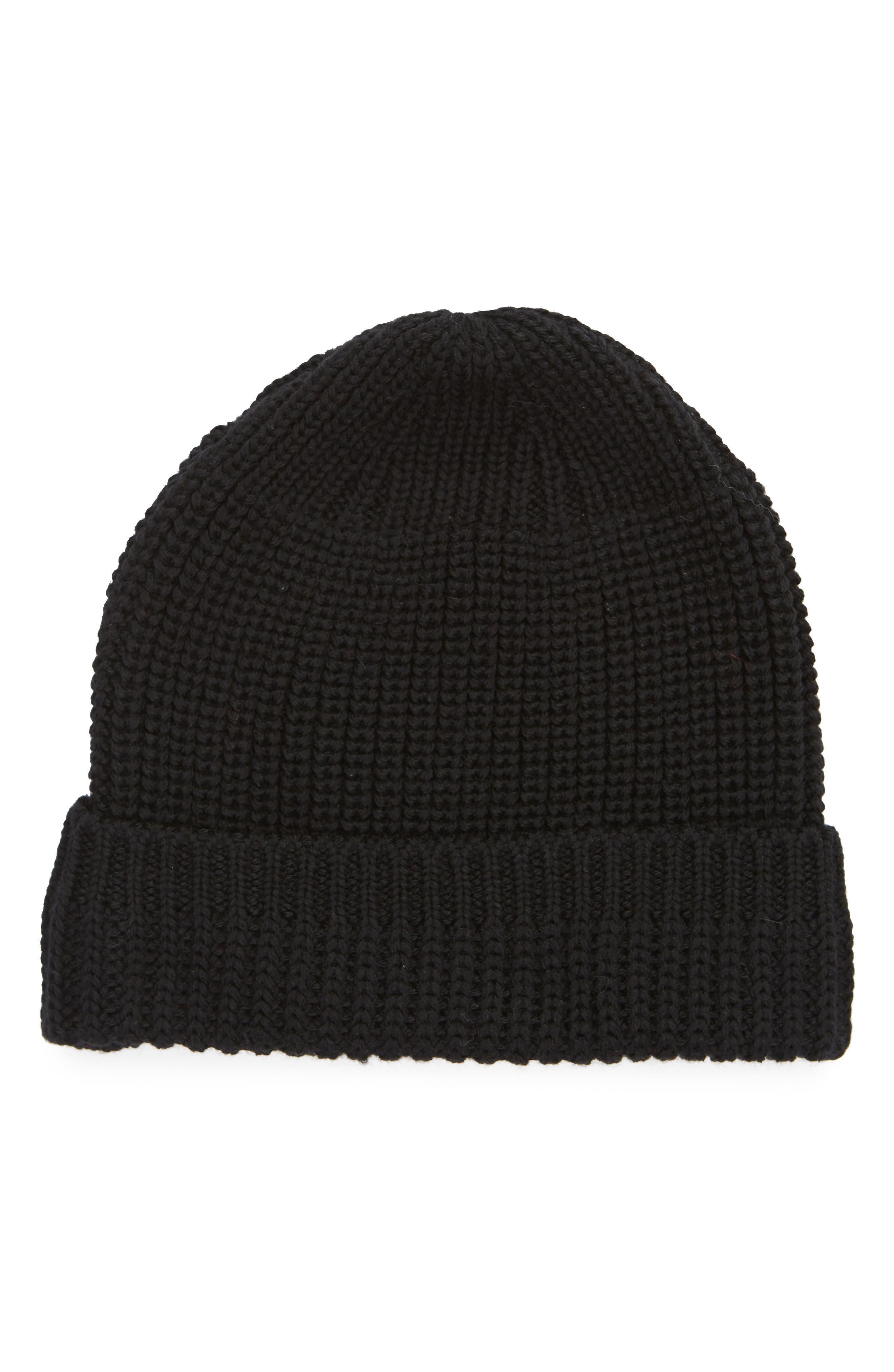 Knit Wool Beanie,                         Main,                         color, BLACK