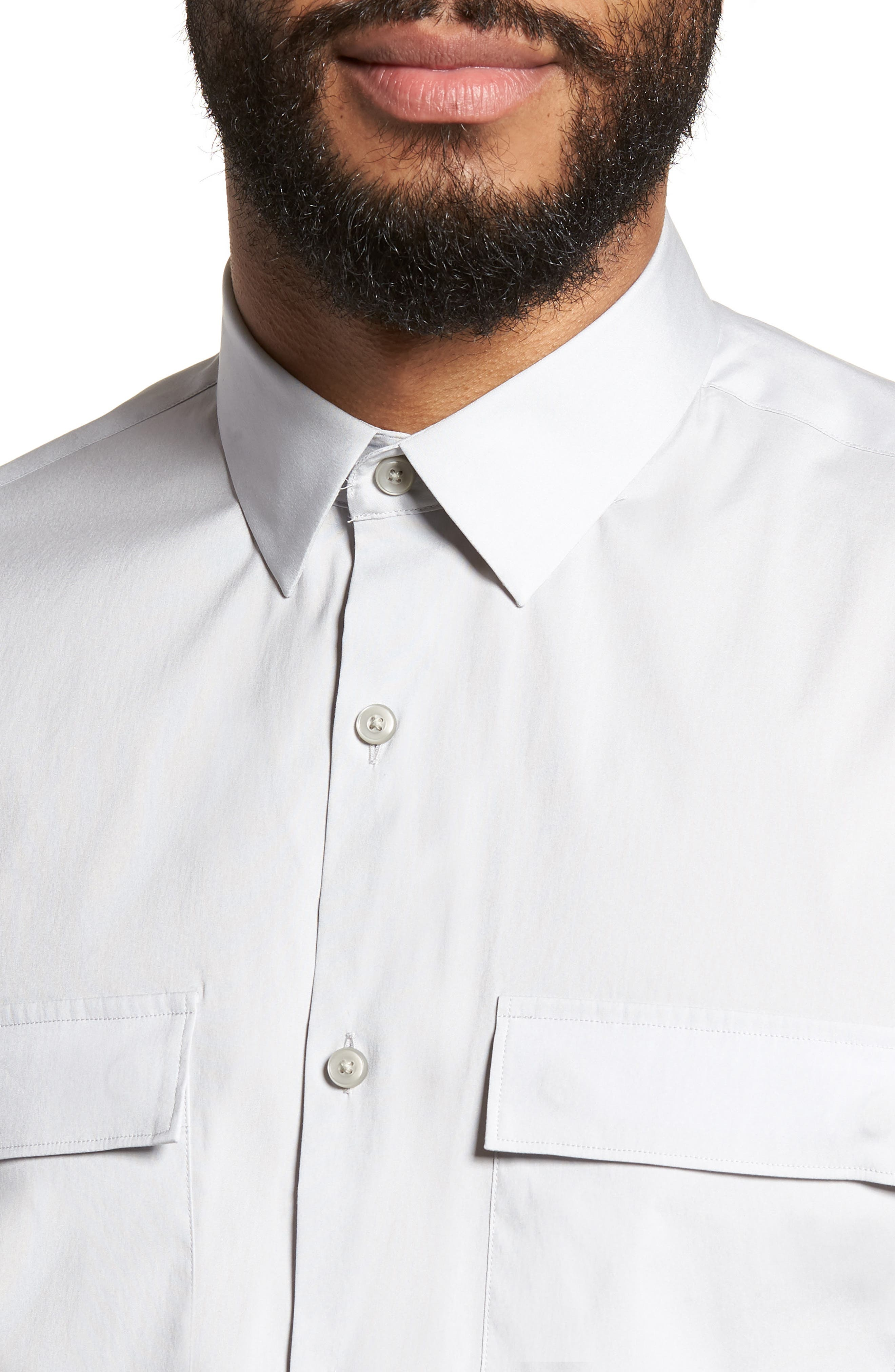 Military Stretch Sport Shirt,                             Alternate thumbnail 4, color,                             GREY MICRO
