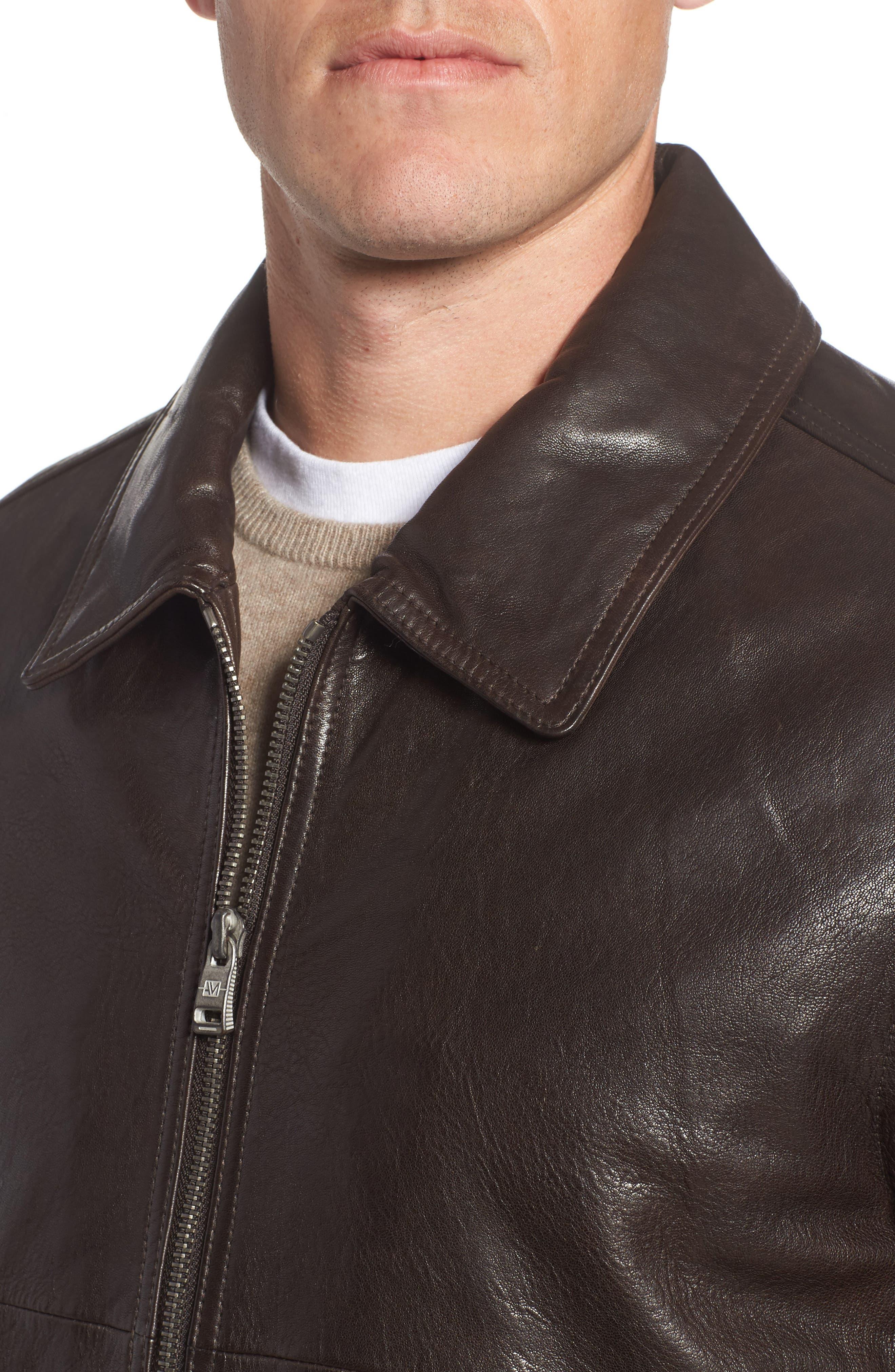 Morrison Spread Collar Leather Jacket,                             Alternate thumbnail 4, color,                             200