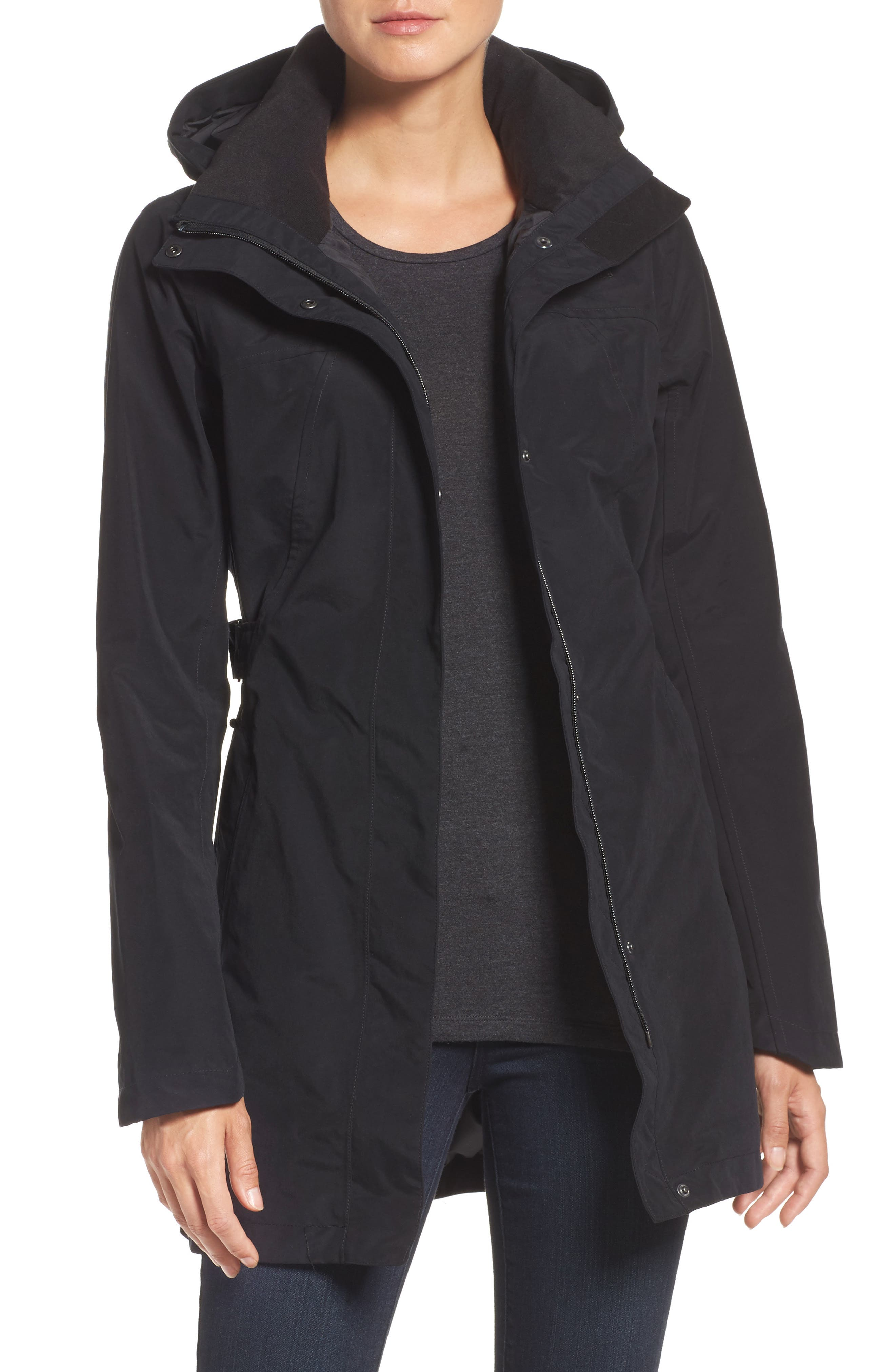 Laney II Trench Raincoat,                         Main,                         color, TNF BLACK