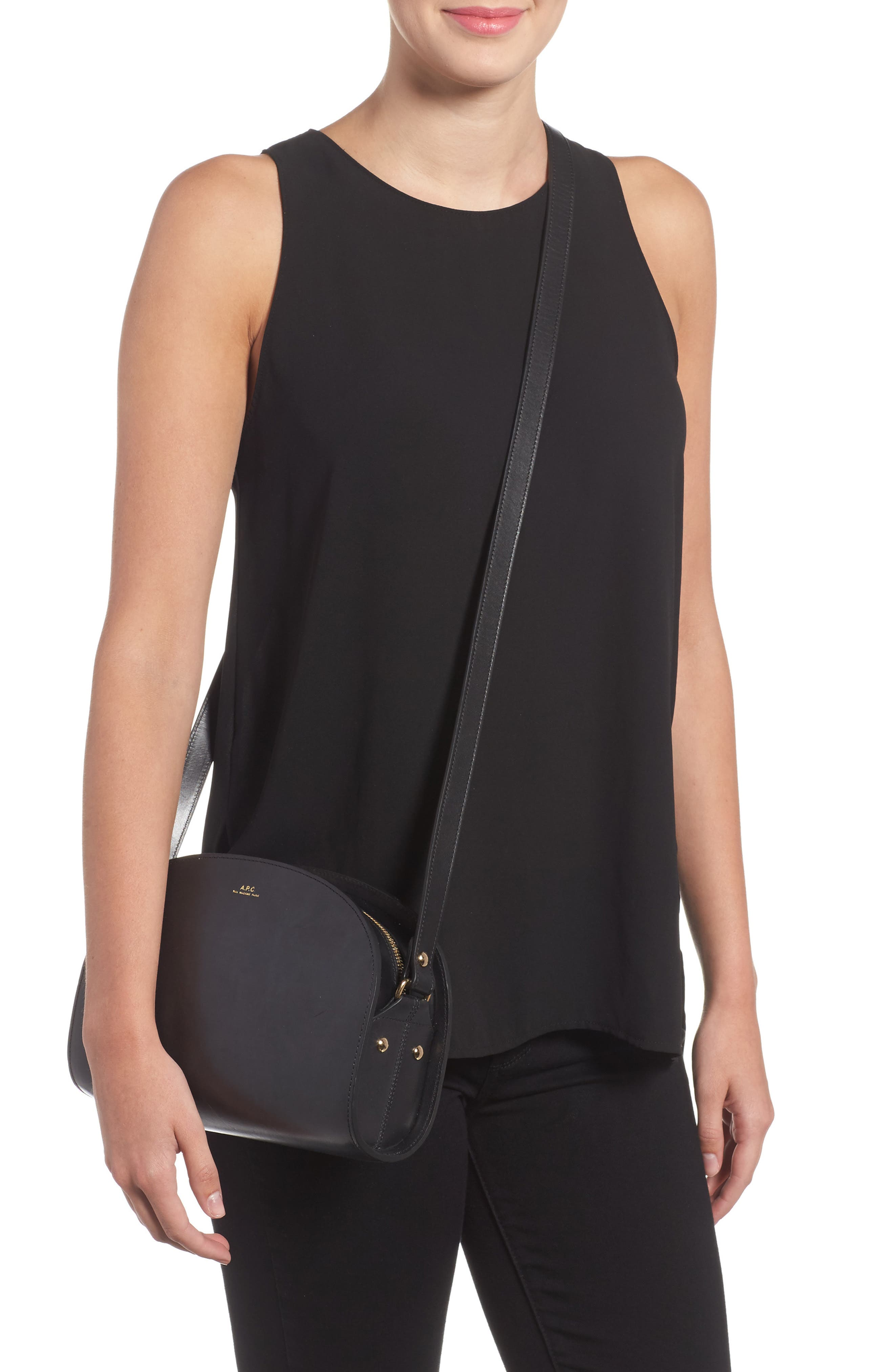 Sac Demi Lune Leather Crossbody Bag,                             Alternate thumbnail 2, color,                             001