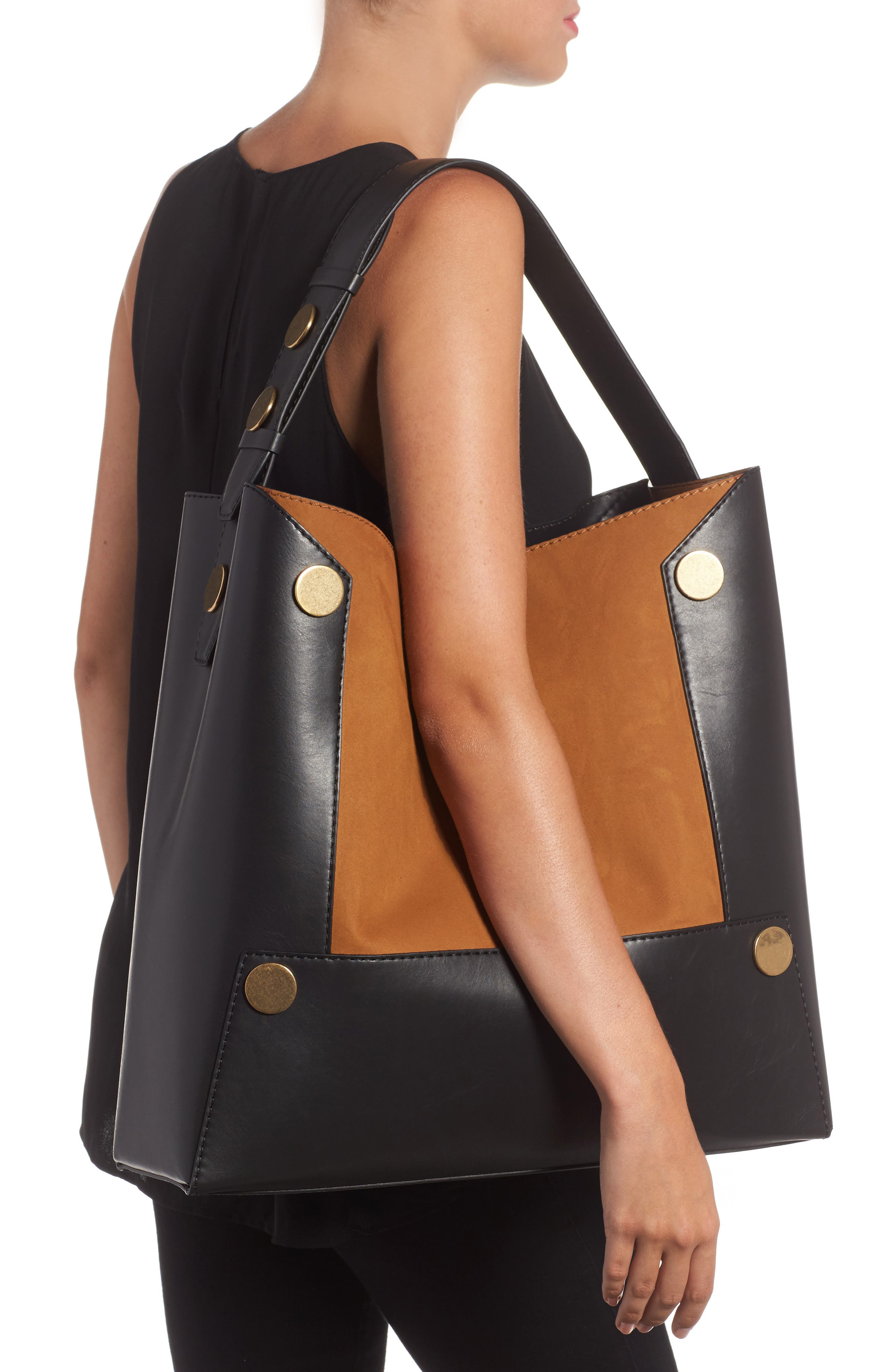 Large Textured Faux Leather Bucket Bag,                             Alternate thumbnail 2, color,                             281