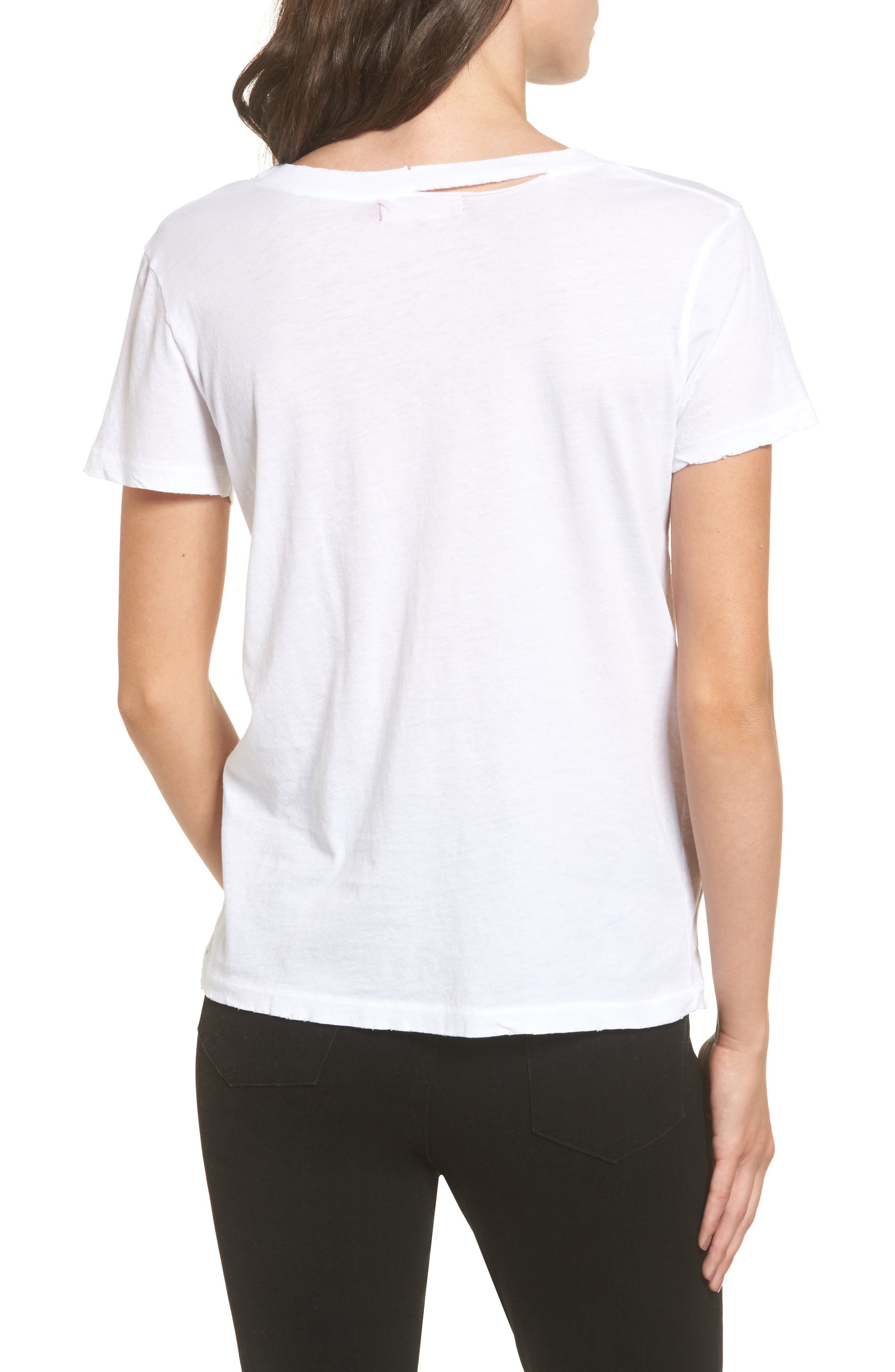 Harlow Distressed BFF Tee,                             Alternate thumbnail 2, color,                             100