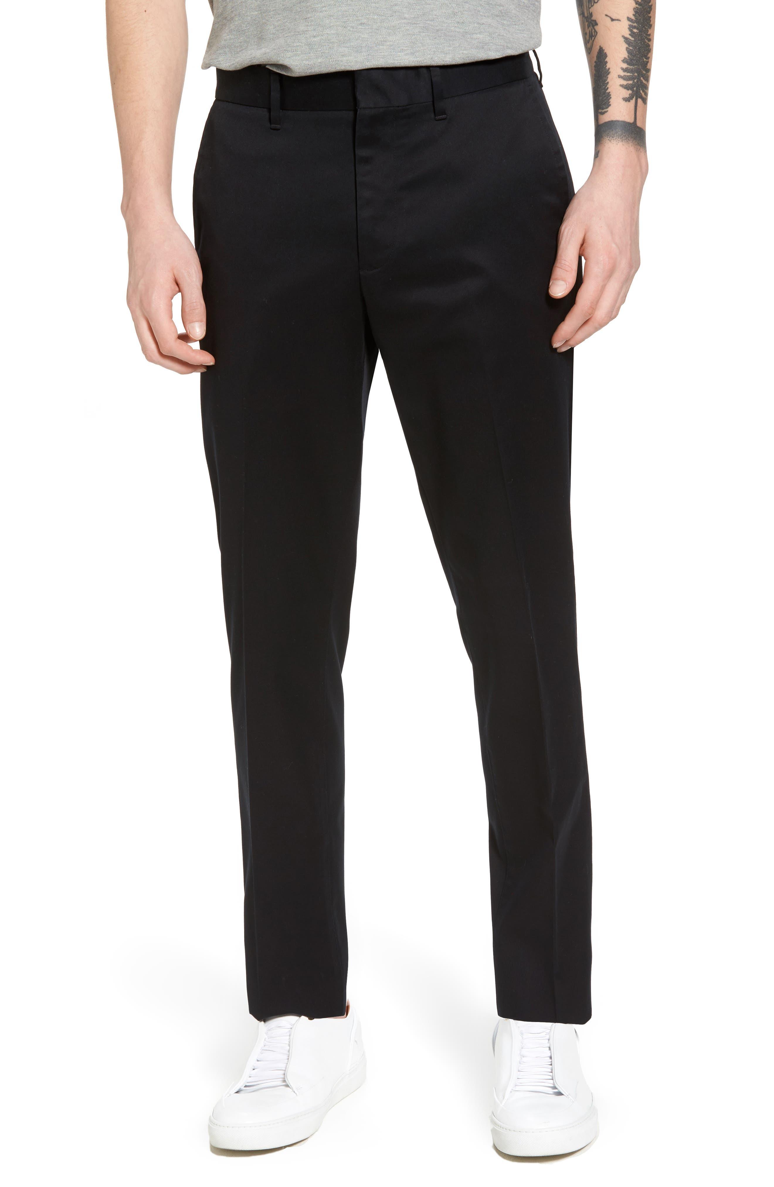 Slim Fit Non-Iron Chinos,                         Main,                         color, BLACK