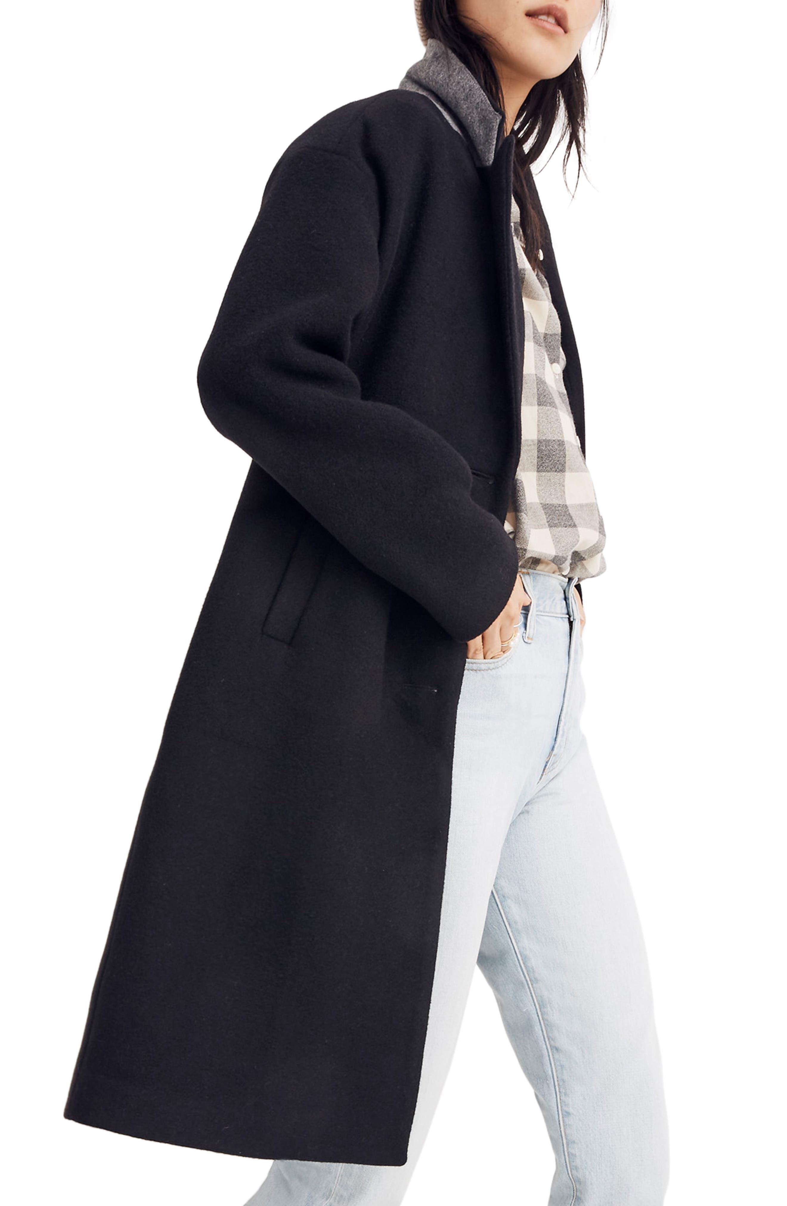 Bergen Cocoon Coat,                             Alternate thumbnail 3, color,                             TRUE BLACK