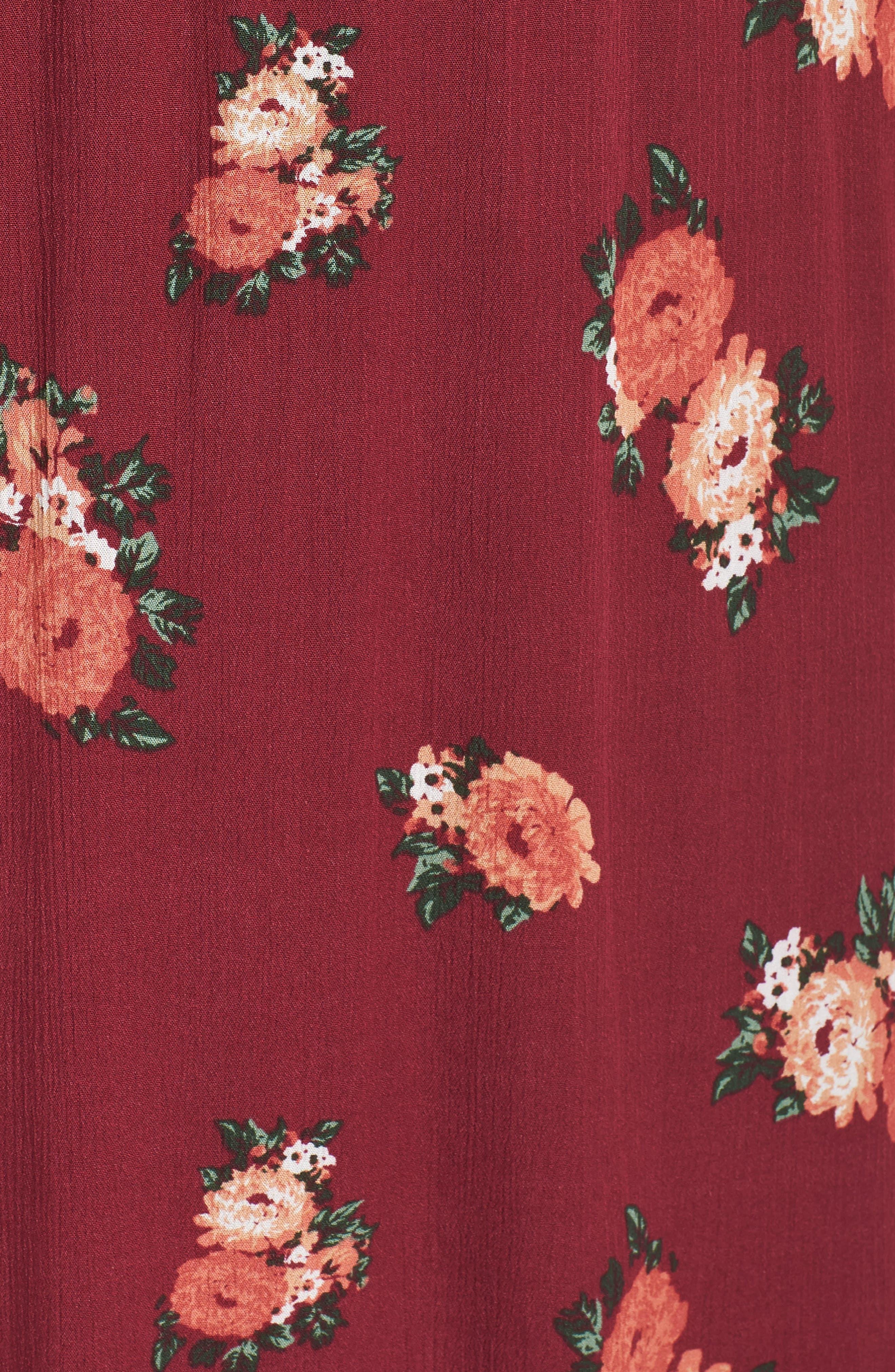 Blouson Midi Dress,                             Alternate thumbnail 6, color,                             RED RUMBA FLORAL