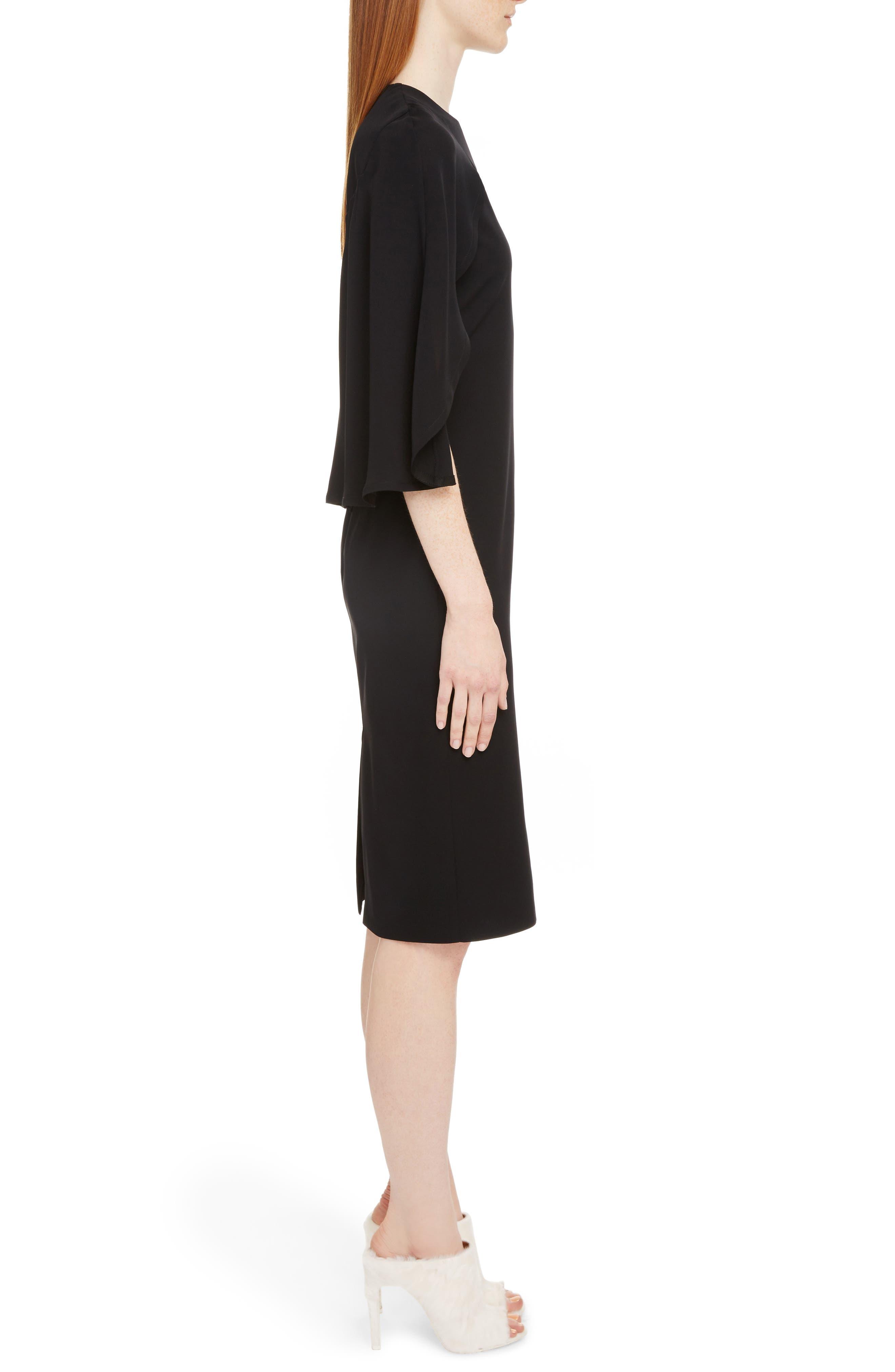 Chiffon Cape Silk Georgette Dress,                             Alternate thumbnail 3, color,