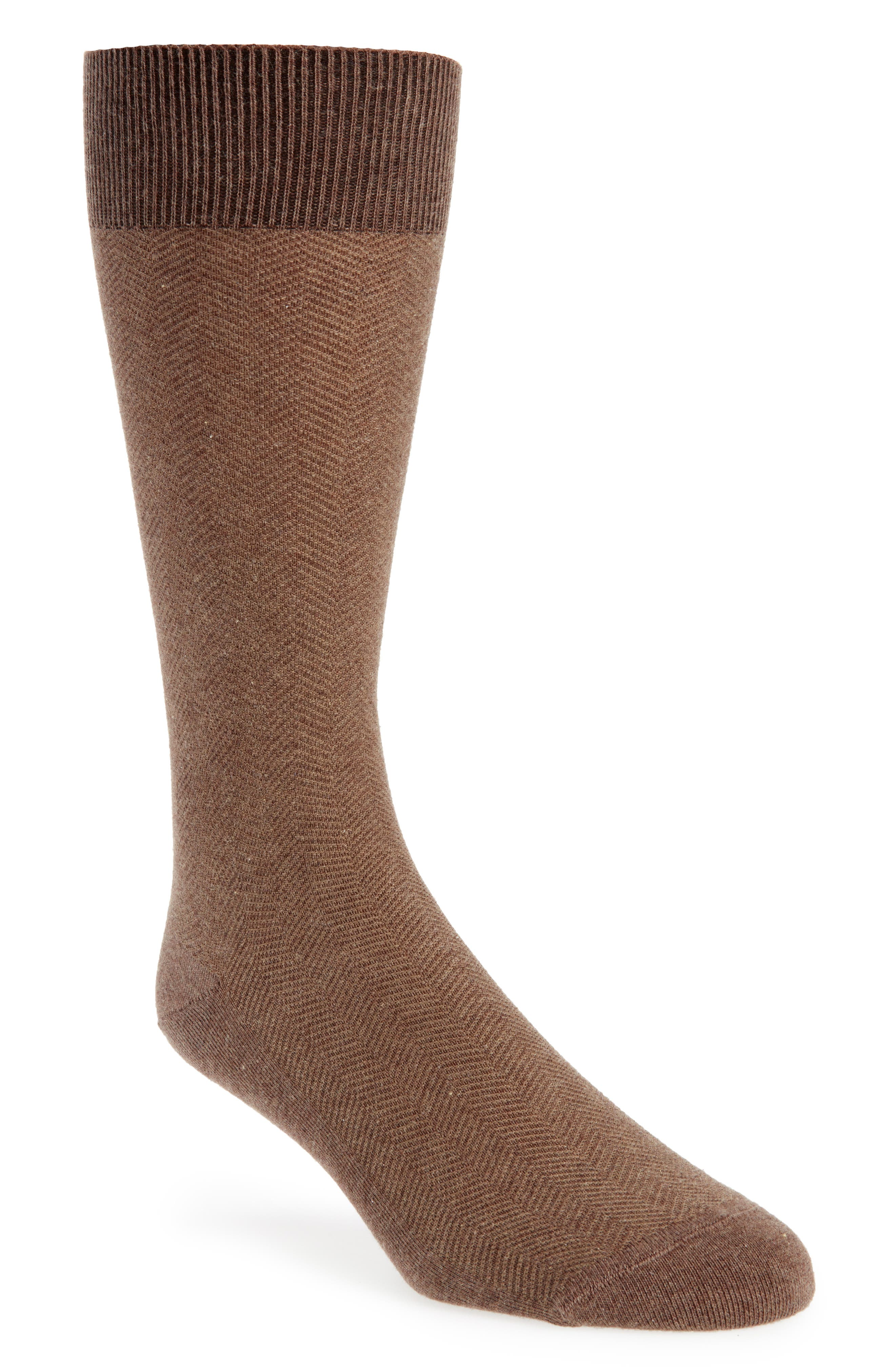 Herringbone Texture Crew Socks,                             Main thumbnail 1, color,                             BROWN HEATHER