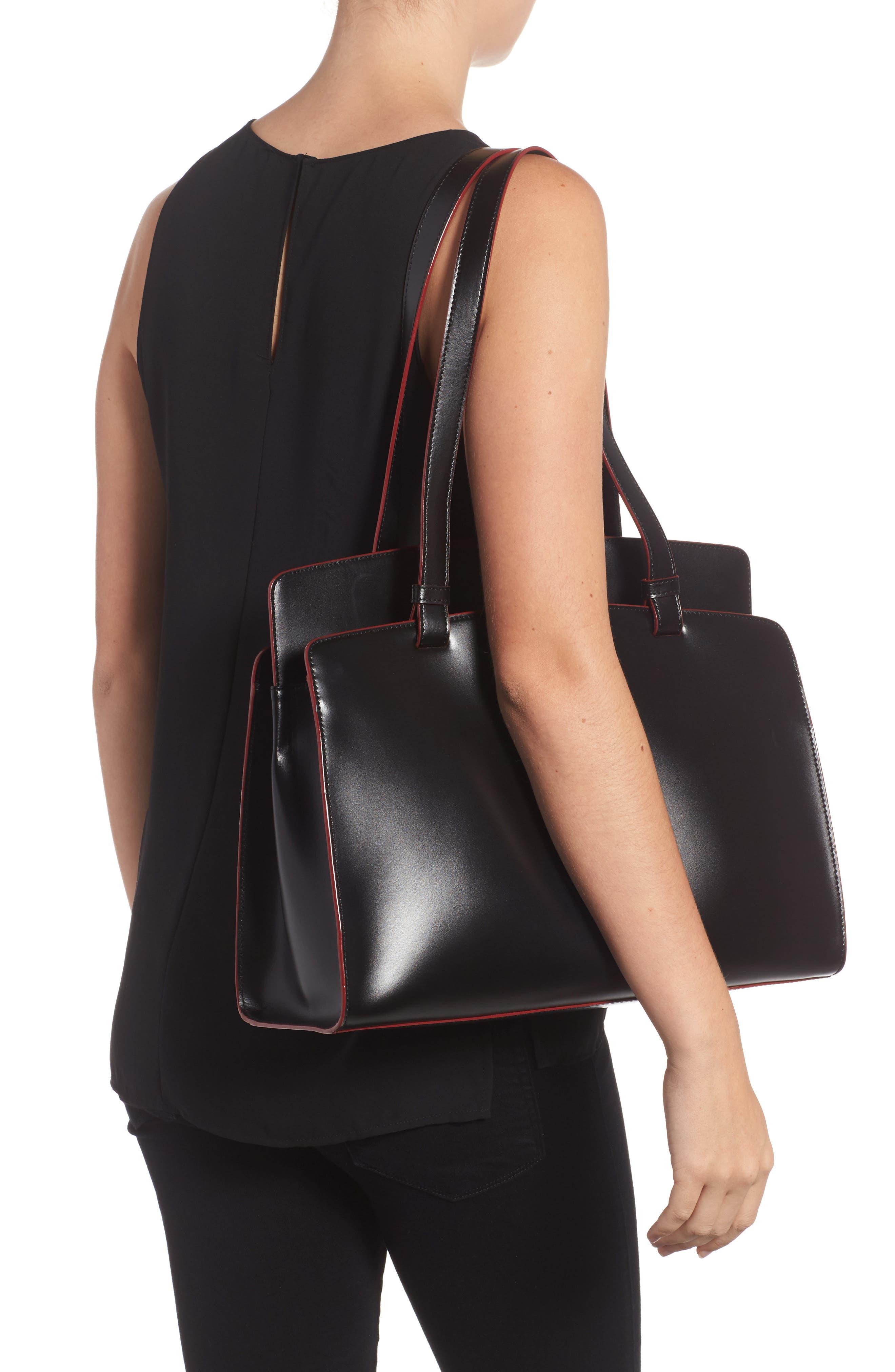 Audrey Under Lock & Key - Jana RFID Leather Tote,                             Alternate thumbnail 2, color,                             BLACK