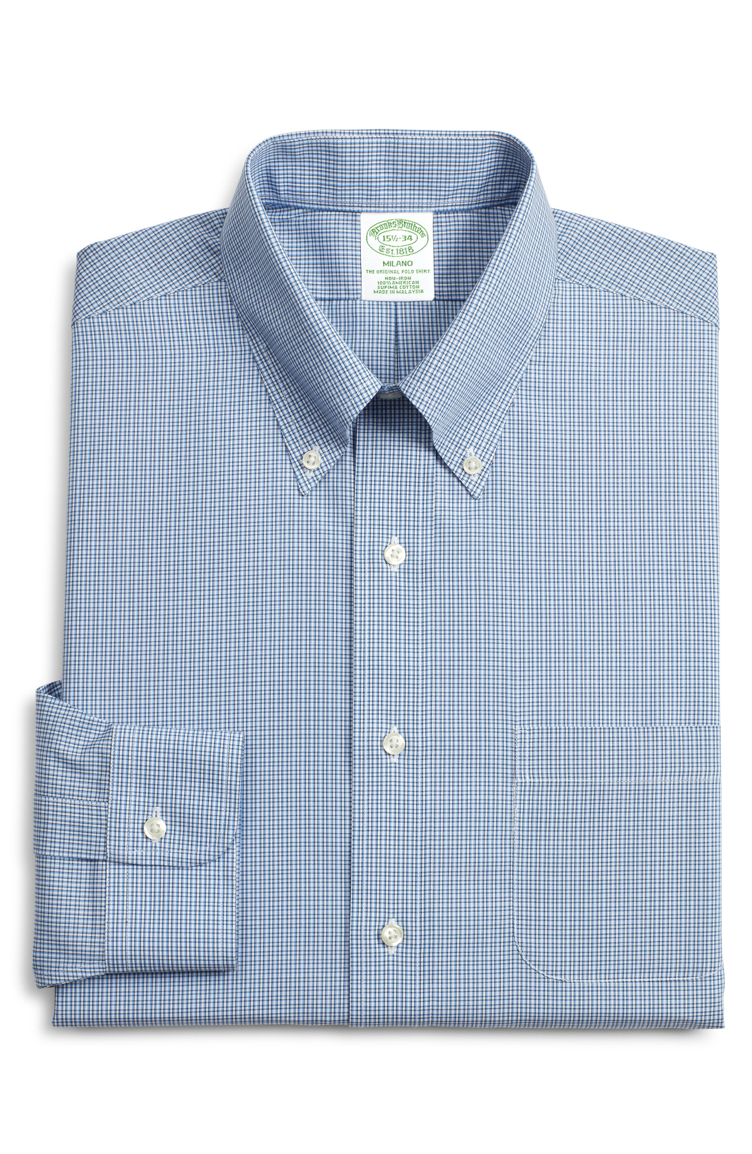 Brooks Brothers Milano Trim Fit Plaid Dress Shirt (3 For $207)