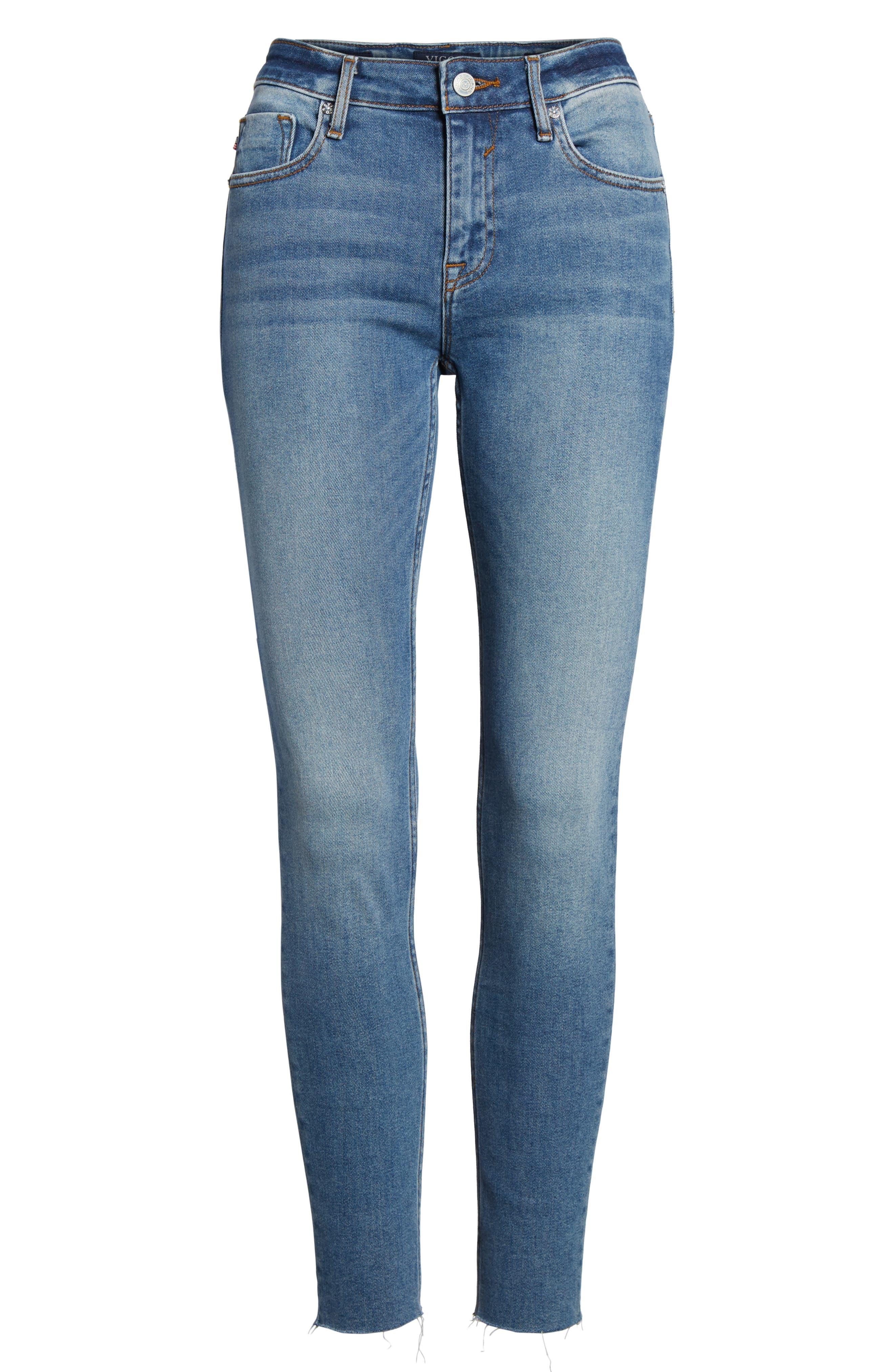 Marley Raw Hem Super Skinny Jeans,                             Alternate thumbnail 7, color,                             461