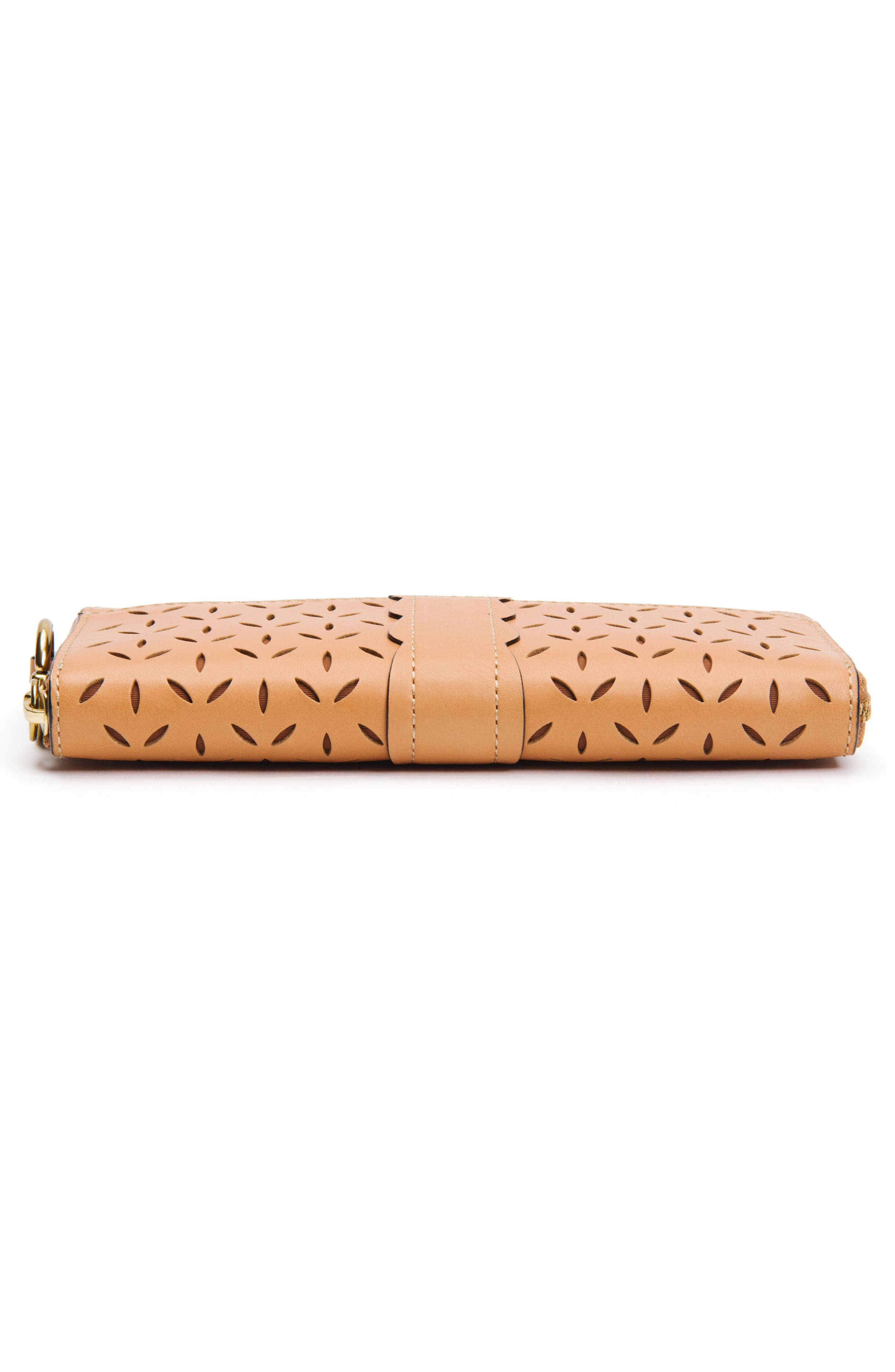 Large Ilana Perforated Leather Zip Wallet,                             Alternate thumbnail 10, color,