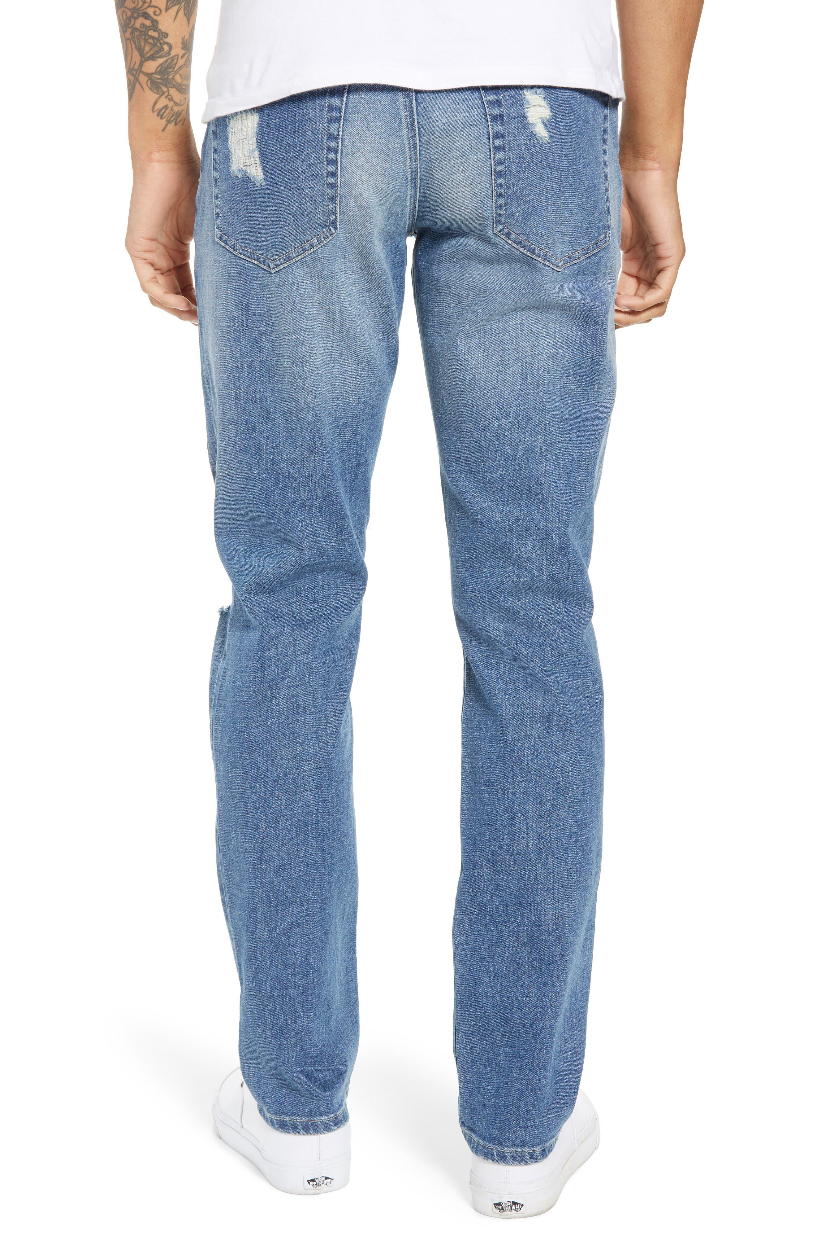 Rip & Repair Stretch Slim Jeans,                             Alternate thumbnail 2, color,                             BLUE HETFIELD WASH