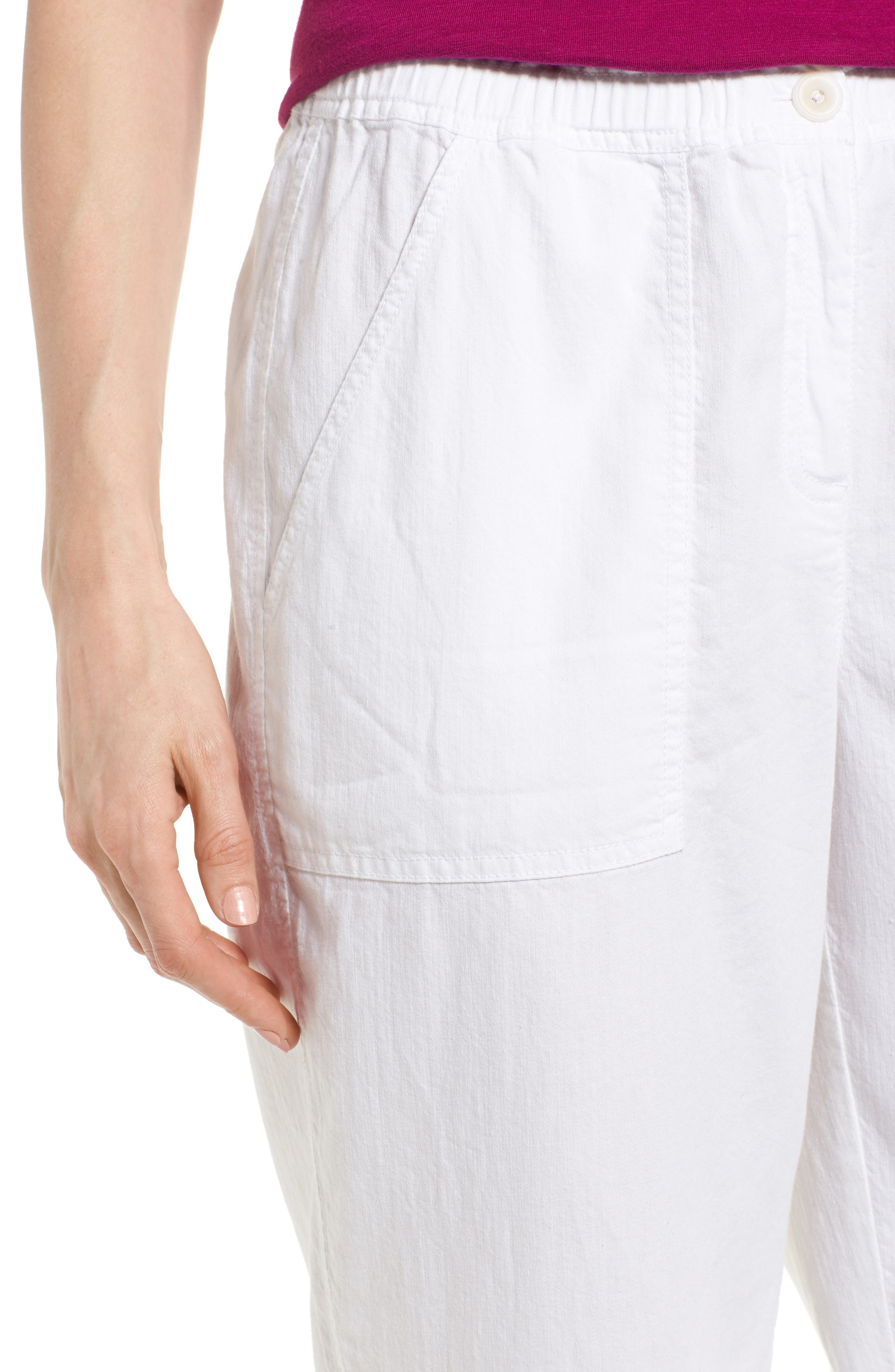 Tapered Organic Cotton Crop Pants,                             Alternate thumbnail 4, color,                             WHITE