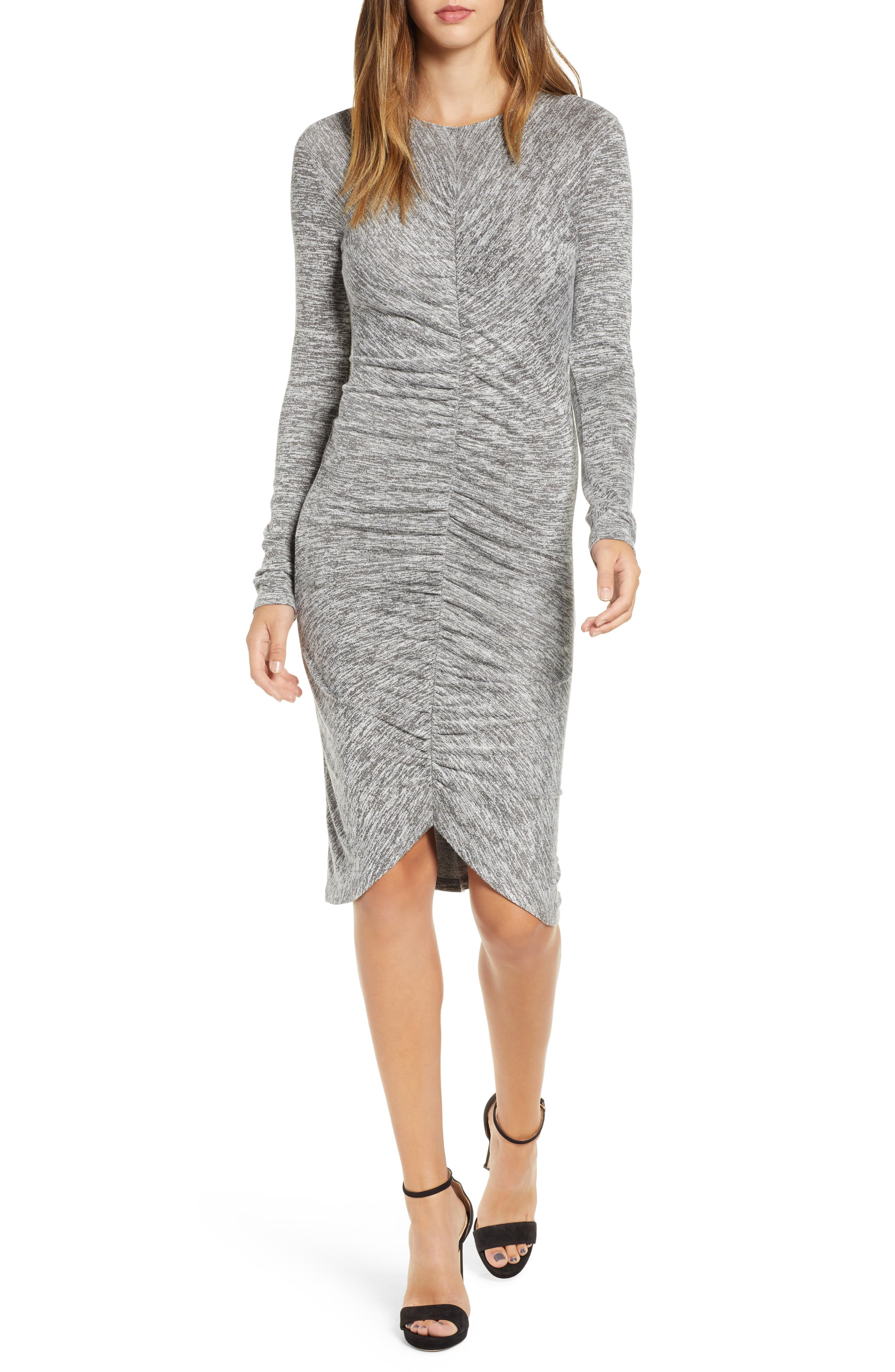 Leith Ruched Front Dress, Grey