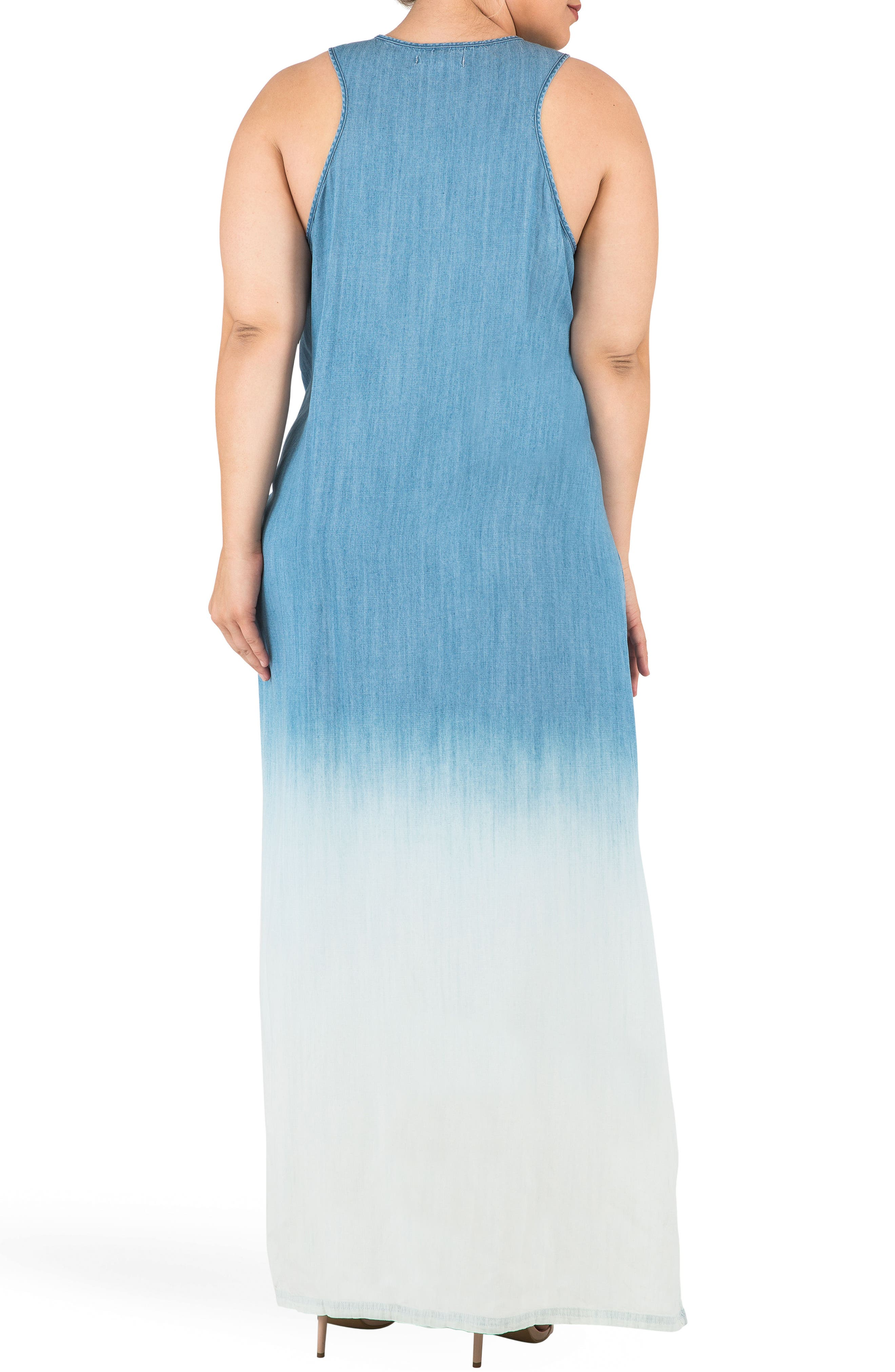 Angie Ombré Chmbray Maxi Dress,                             Alternate thumbnail 2, color,                             BLUE