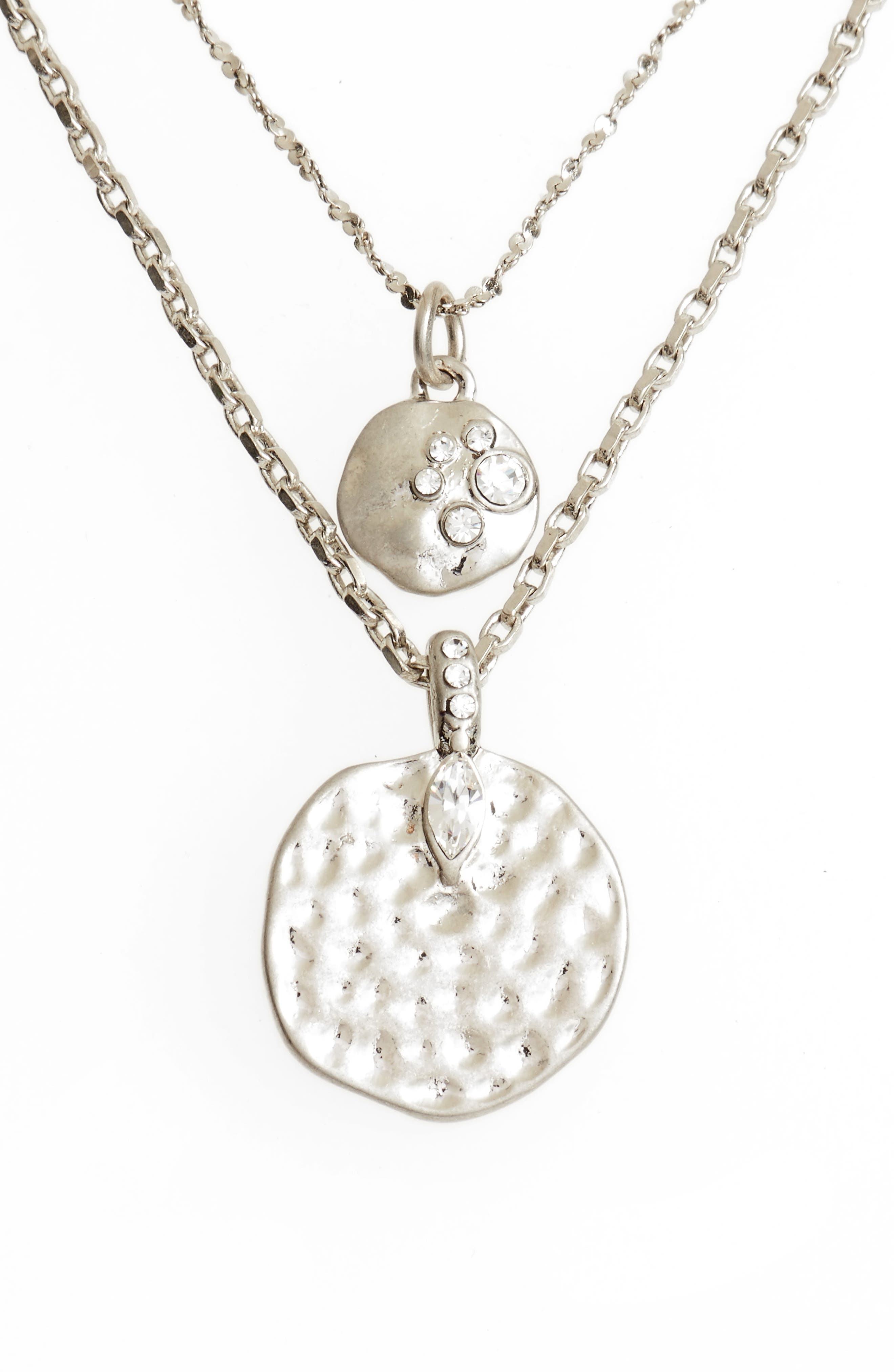 Multistrand Hammered Disc Pendant Necklace,                             Main thumbnail 2, color,