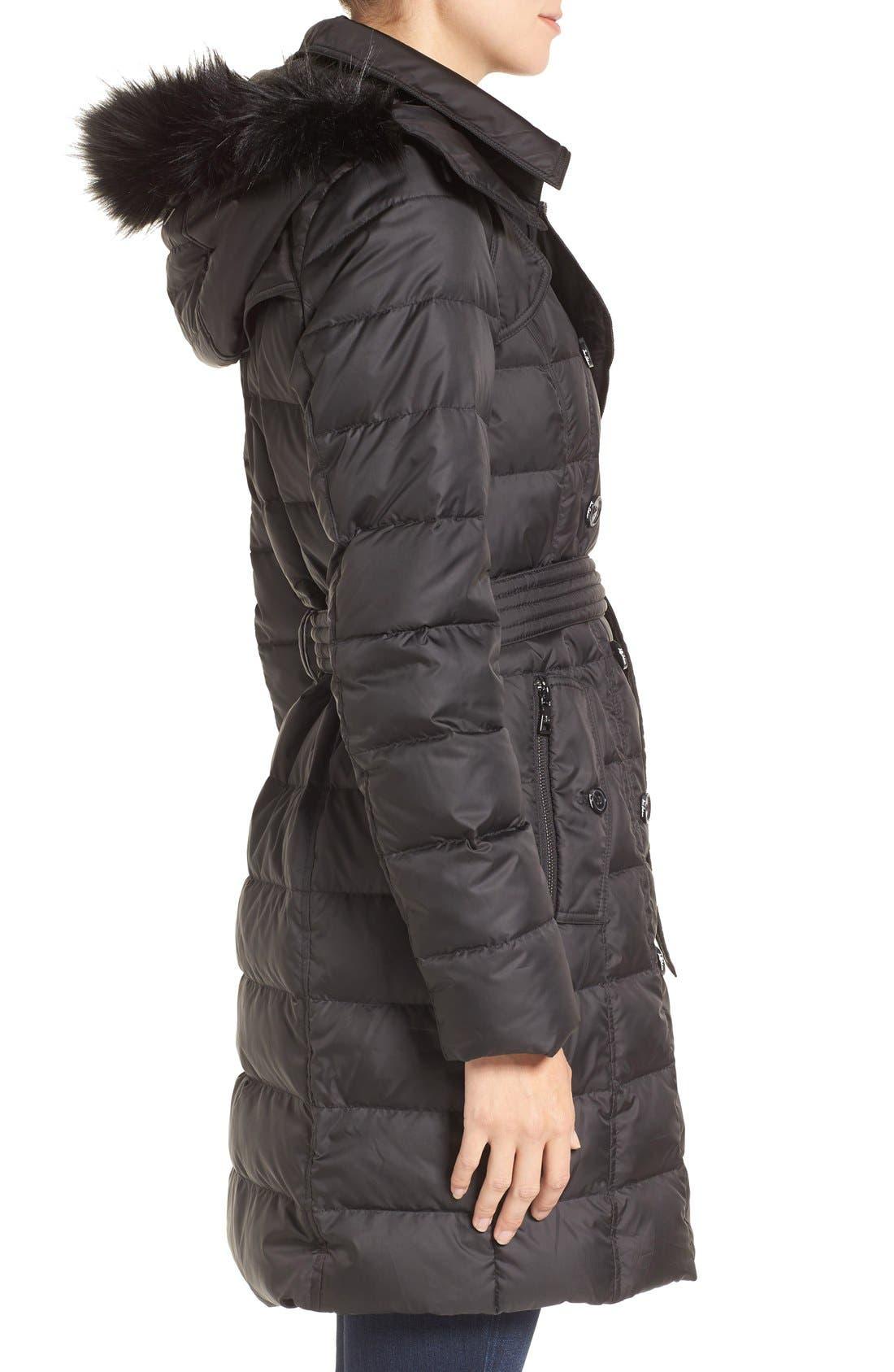 Faux Fur Trim Down Coat,                             Alternate thumbnail 3, color,                             001