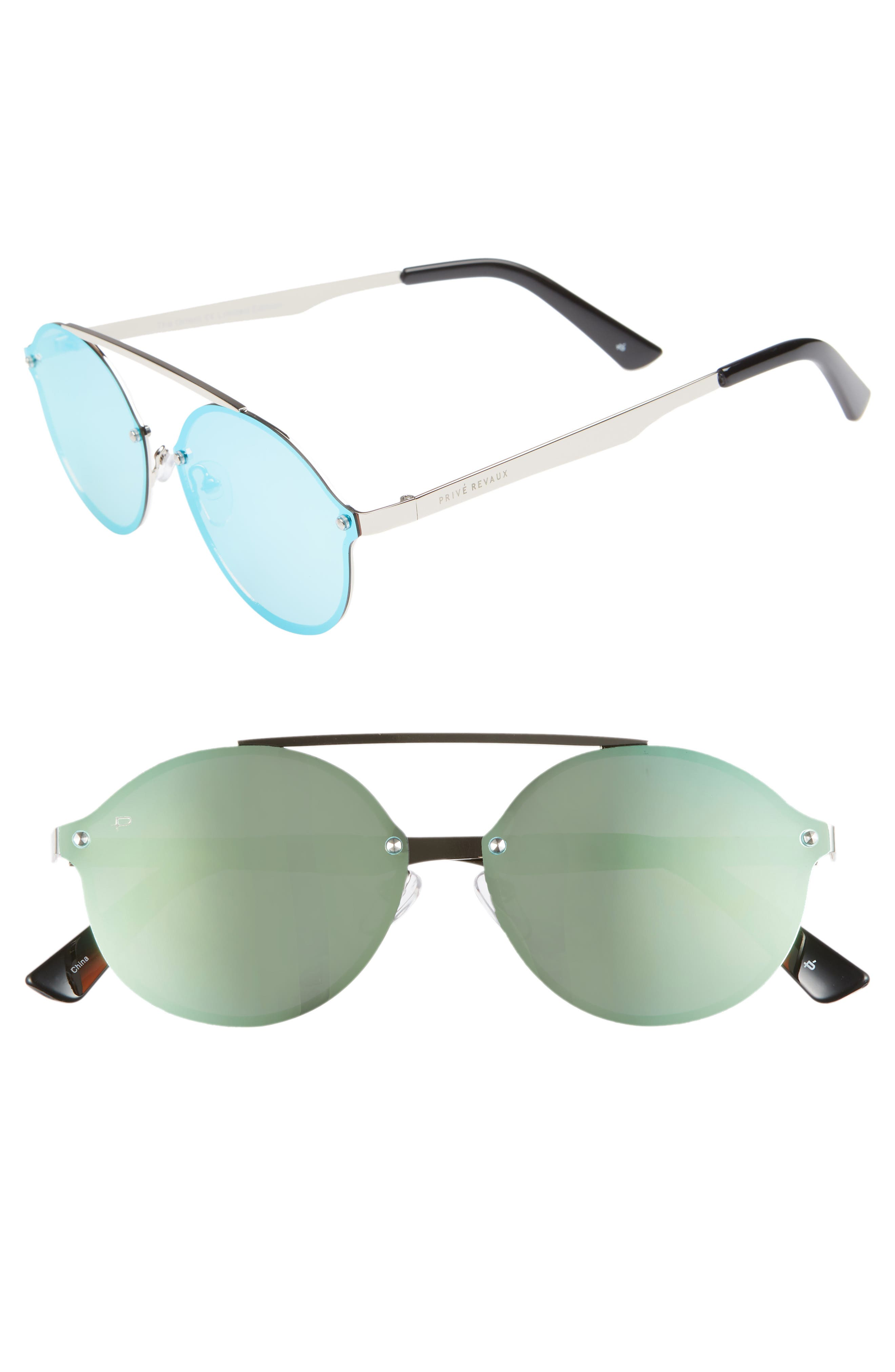 Privé Revaux The Orient 58mm Sunglasses,                         Main,                         color, DARK BLUE MIRROR