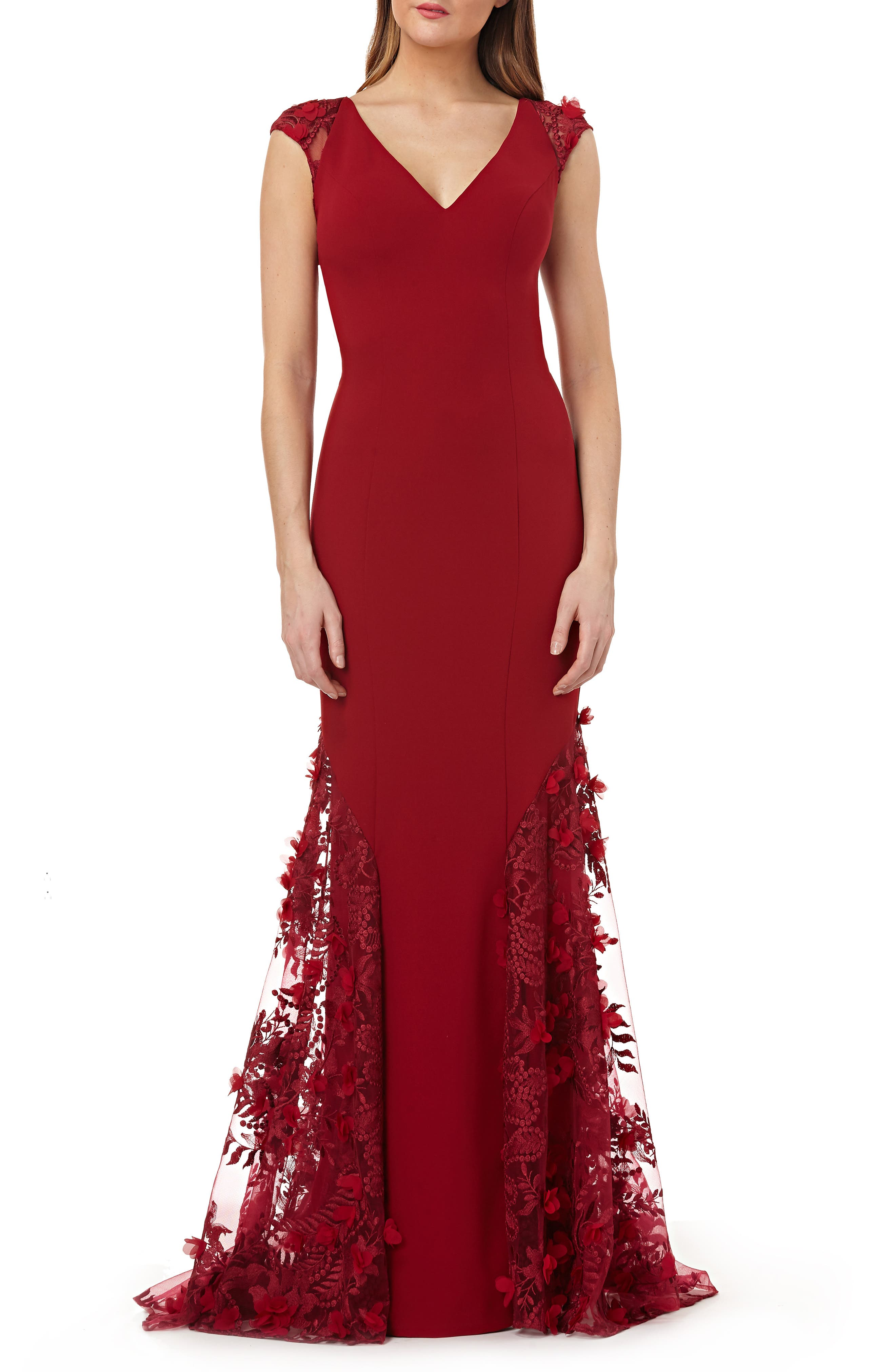 Carmen Marc Valvo Infusion 3D Floral Inset Gown, Burgundy