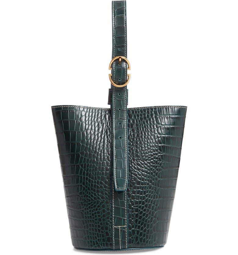 Trademark SMALL LEATHER BUCKET BAG - GREEN