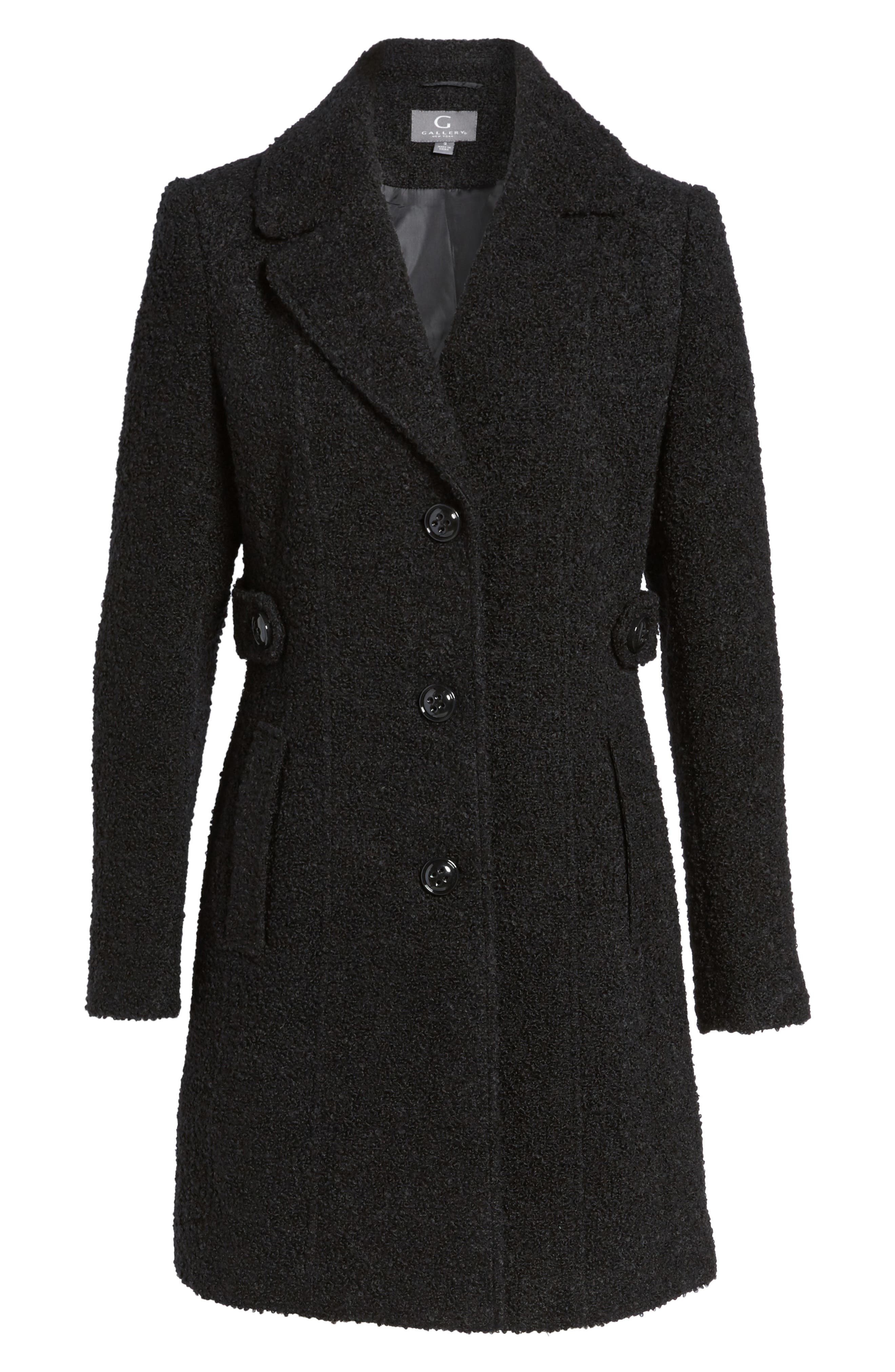 Bouclé Coat,                             Alternate thumbnail 6, color,                             BLACK